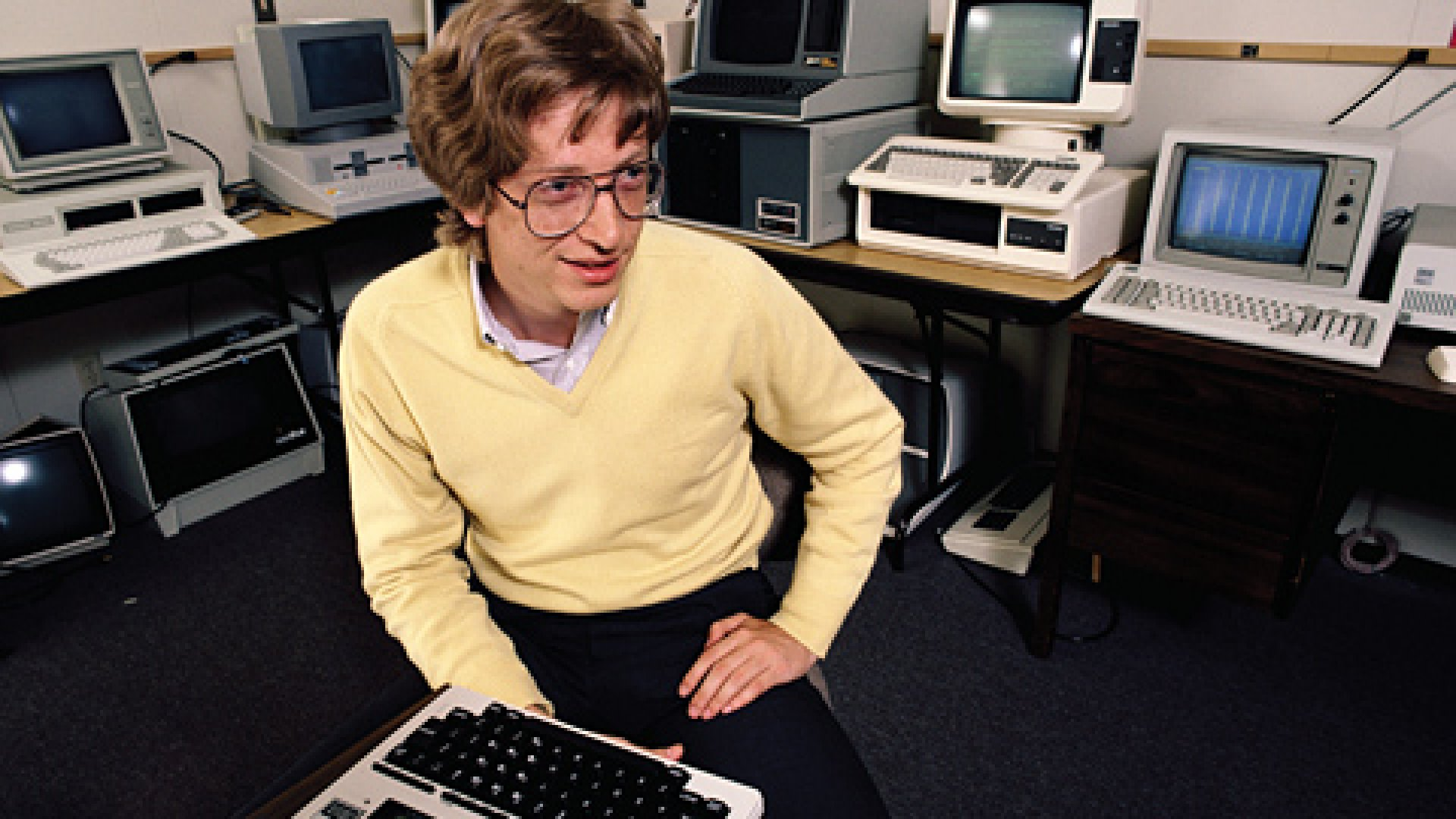 Bill Gates, seen here in 1983, started his company in the teeth of the 1970s stagflatio.