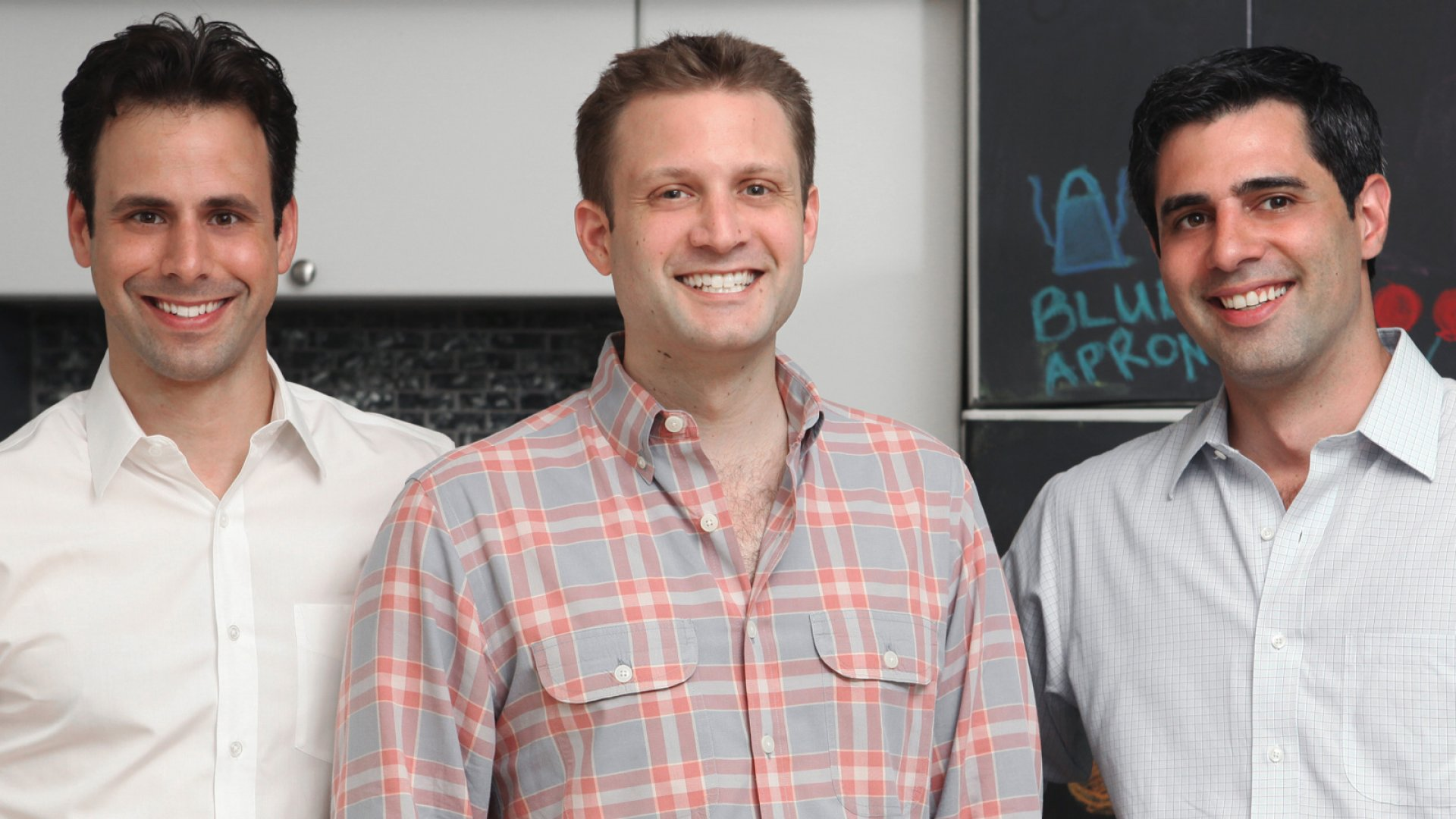 Blue Apron founders (pictured from left) Matthew Wadiak, Matt Salzberg, and Ilia Papas are convinced cooking should be a fun experience that's never wasteful. <br> <br>