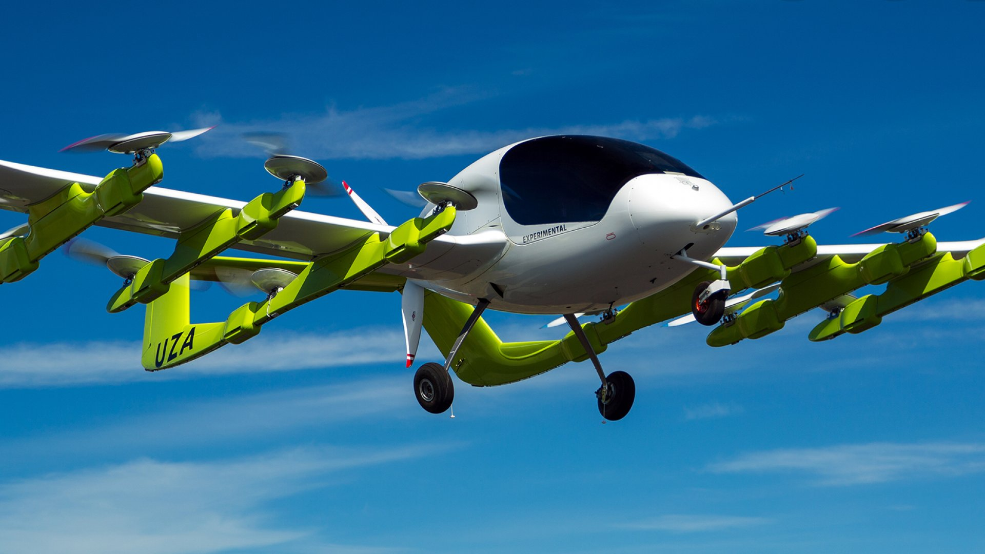 Electric, autonomous flying taxi Cora, developed by Kitty Hawk.