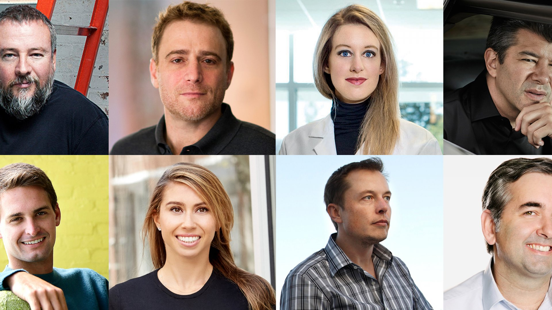 Clockwise from top left: Shane Smith (Vice Media); Stewart Butterfield (Slack); Elizabeth Holmes (Theranos); Travis Kalanick (Uber); Evan Spiegel (Snapchat); Jennifer Fleiss (Rent the Runway); Elon Musk; Chad Dickerson (Etsy)
