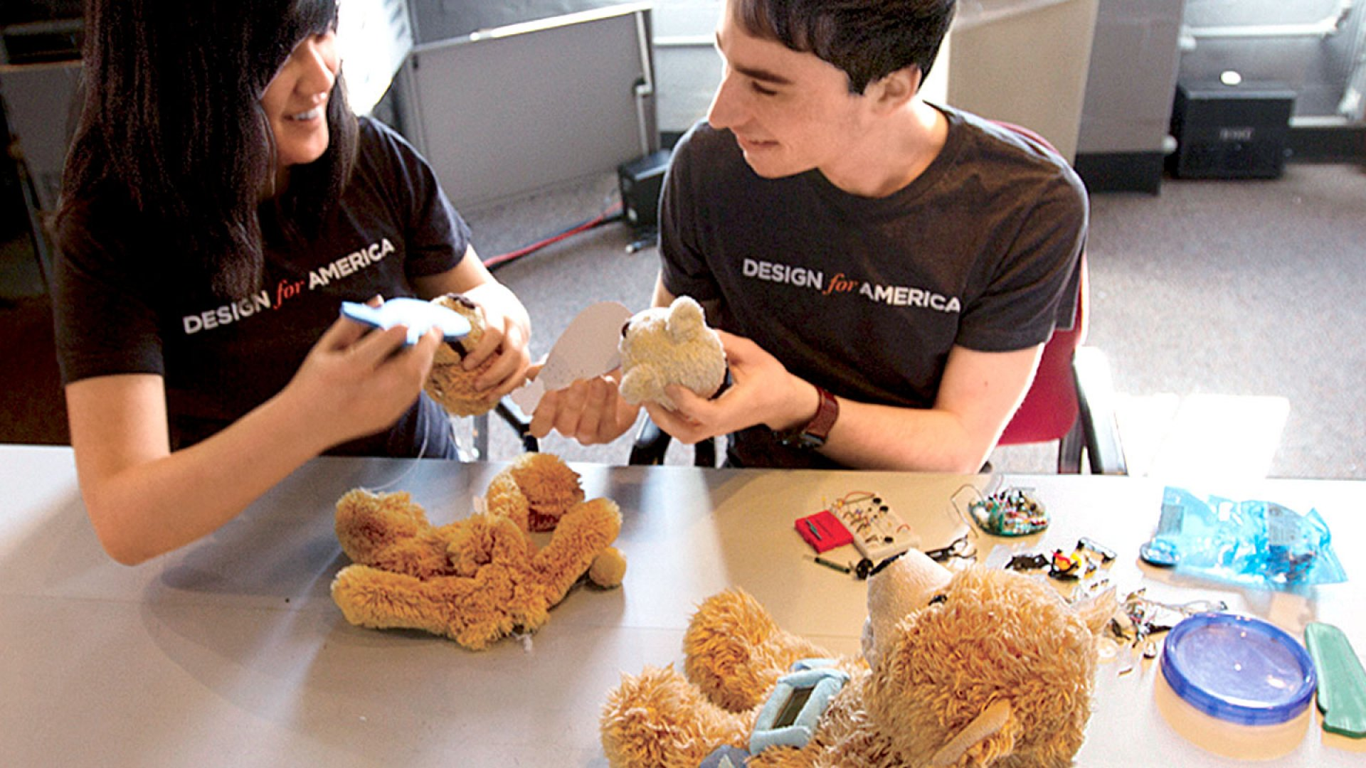<b>Care Bears:</b> Sproutel co-founders Hannah Chung and Aaron Horowitz with a prototype of their first product.