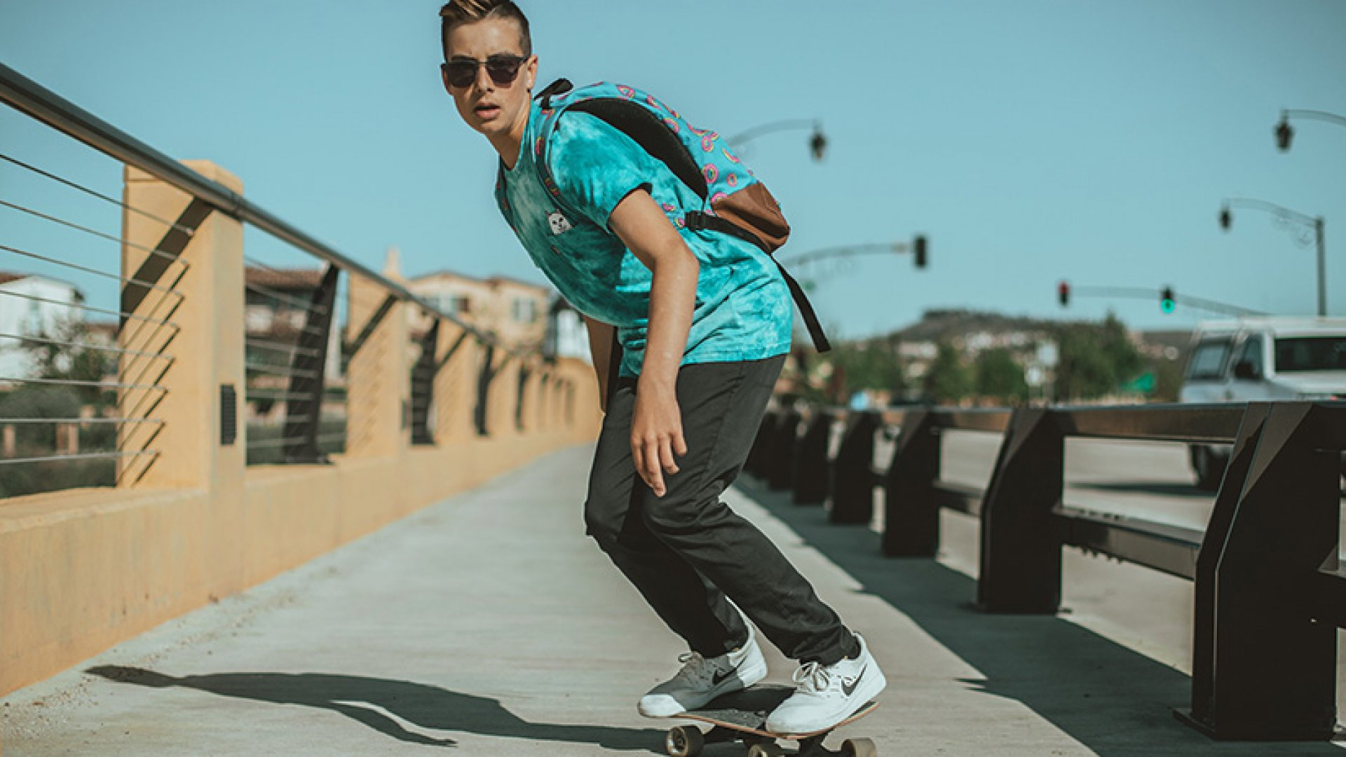 Twelve-year-old Carson Kropfl riding one of Locker Board's Travel Cruisers. Locker Board skateboards are a sustainable line of skateboards he designed to fit inside of backpacks and lockers.