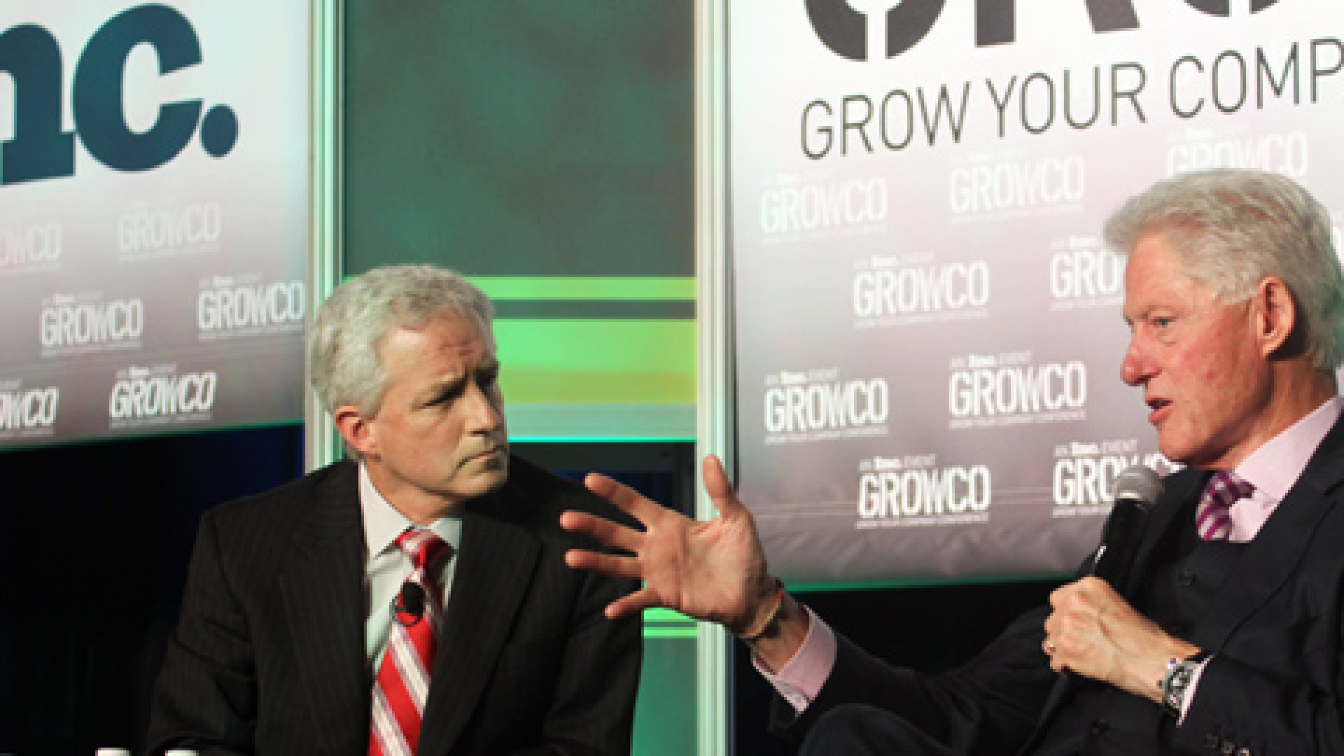 Bill Clinton with Inc.com editor Eric Schurenberg at Inc.'s Grow Your Company Conference, March 2012