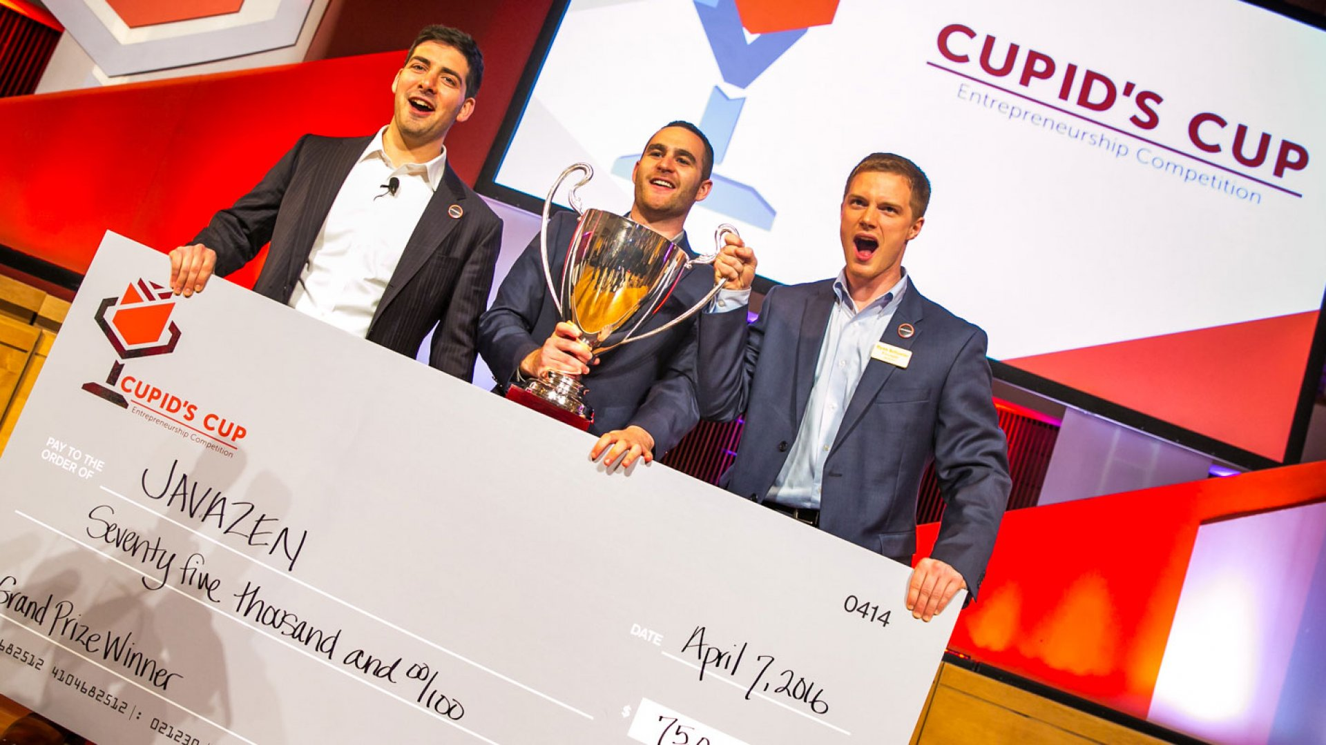 Co-Founders of Javazen, Aaron Wallach, Eric Golman and Ryan Schueler, holding the $75,000 grand prize check from the 2016 Cupid's Cup Entrepreneurship Competition.