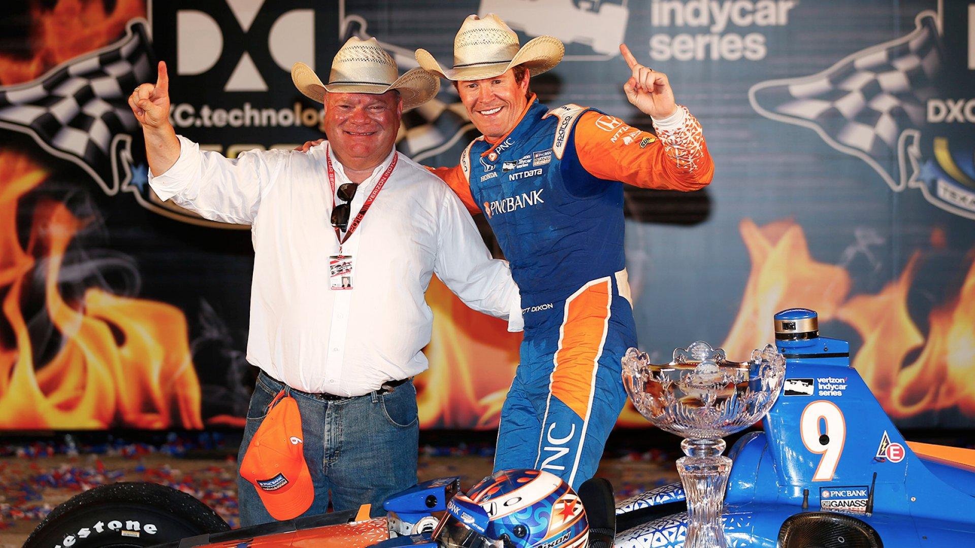Chip Ganassi (left), and 5-time IndyCar champion Scott Dixon.