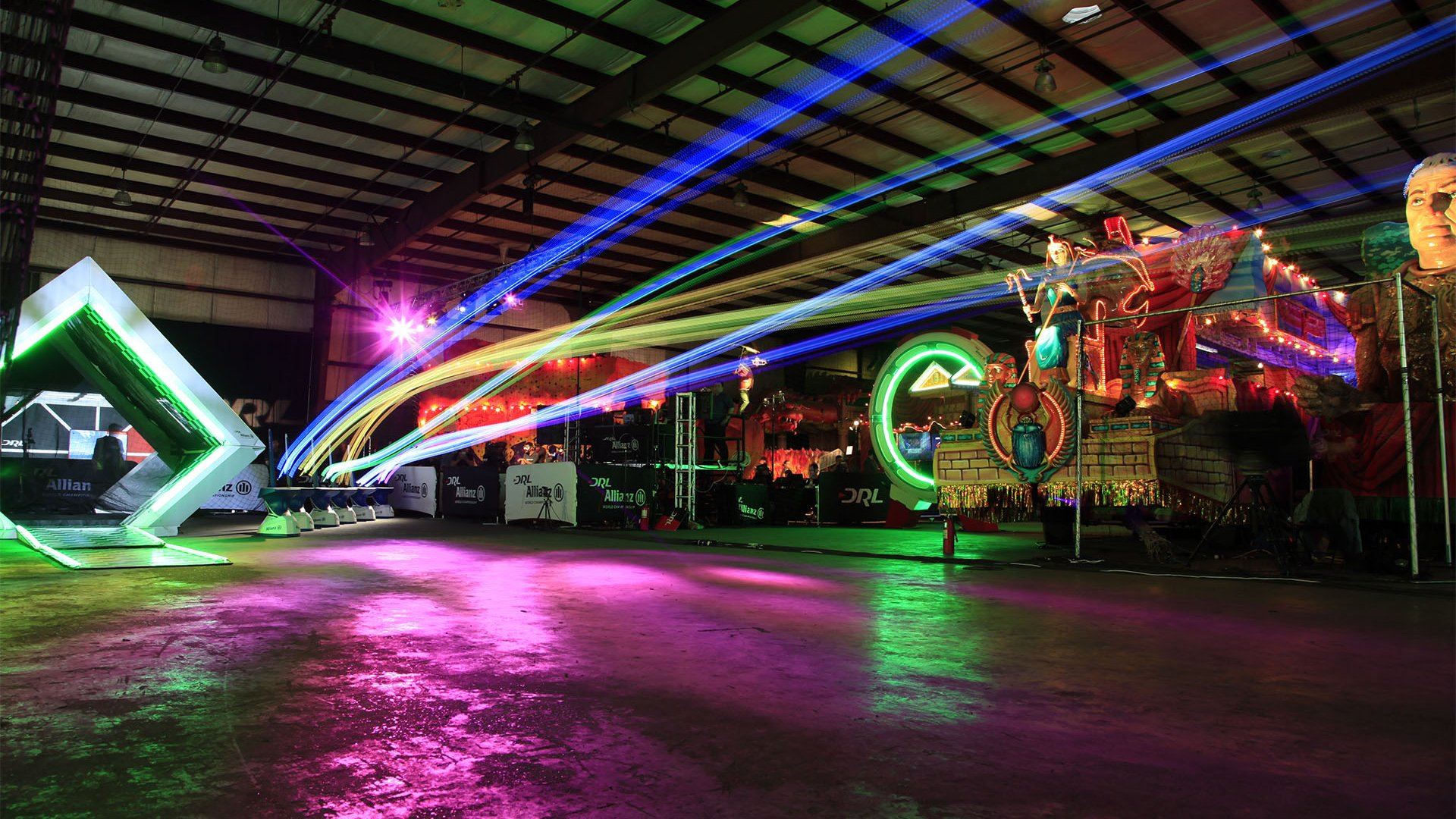 Drone Racing League competition at Mardi Gras World.