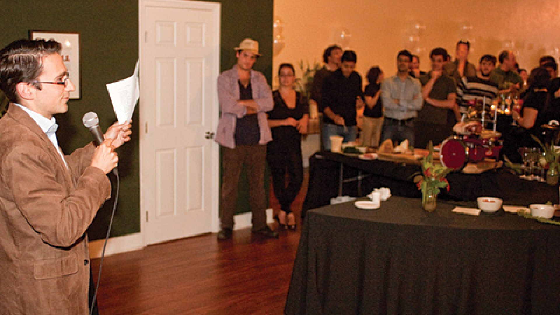 Dan Scholnick of Trinity Ventures speaking at a party at the Dolores Labs space.