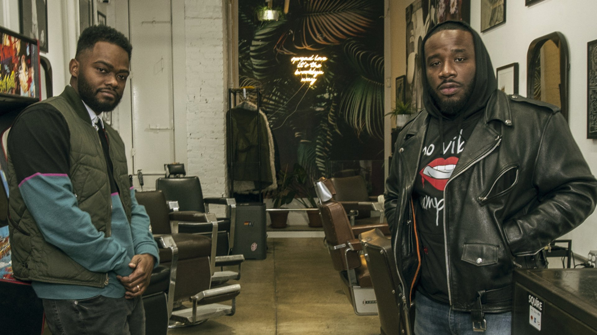 Songe LaRon and Dave Salvant at Artisan Barbershop on New York City's Lower East Side.