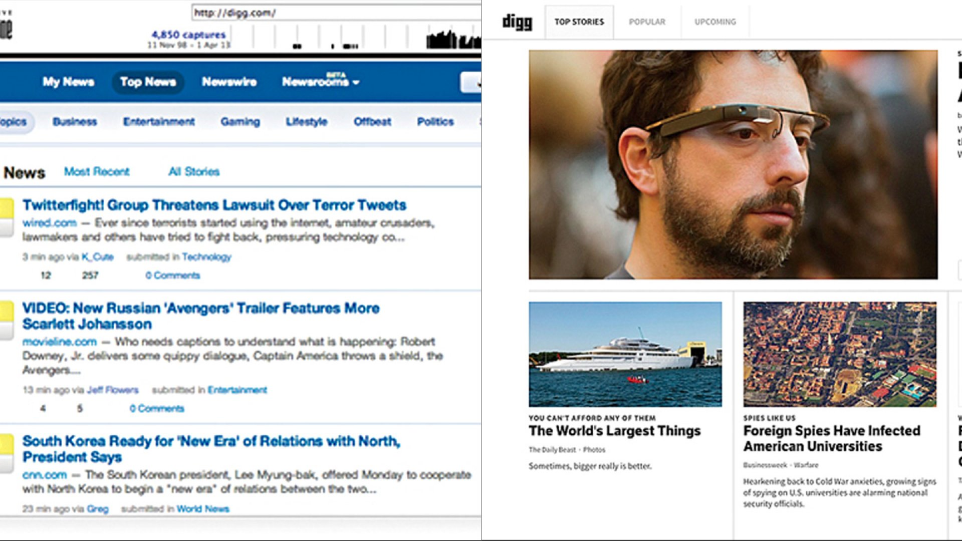 Digg: Before and After Its Redesign