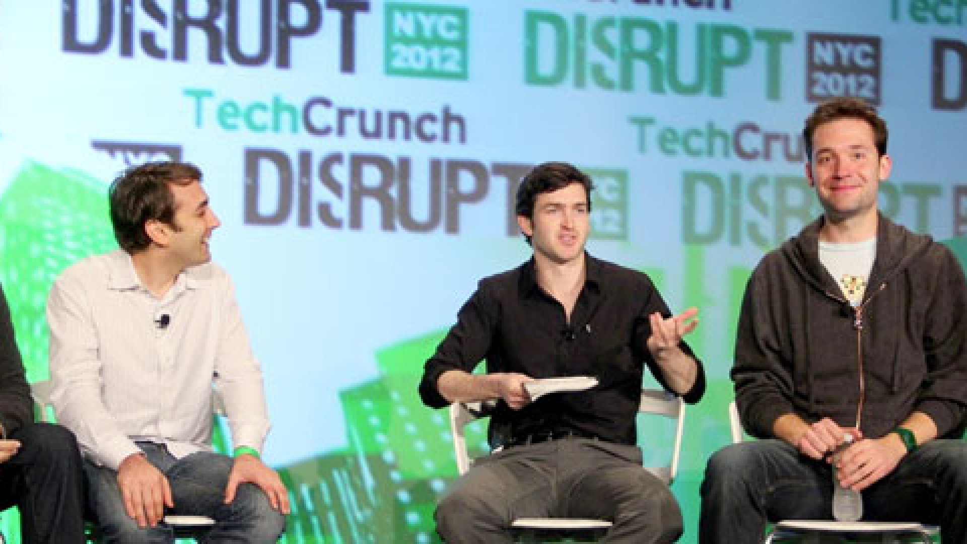 <b>The Disruptors.</b> From left: David Tisch (TechStars), Jake Schwartz (General Assembly), Jason Kincaid (TechCrunch), Alexis Ohanian (Reddit).
