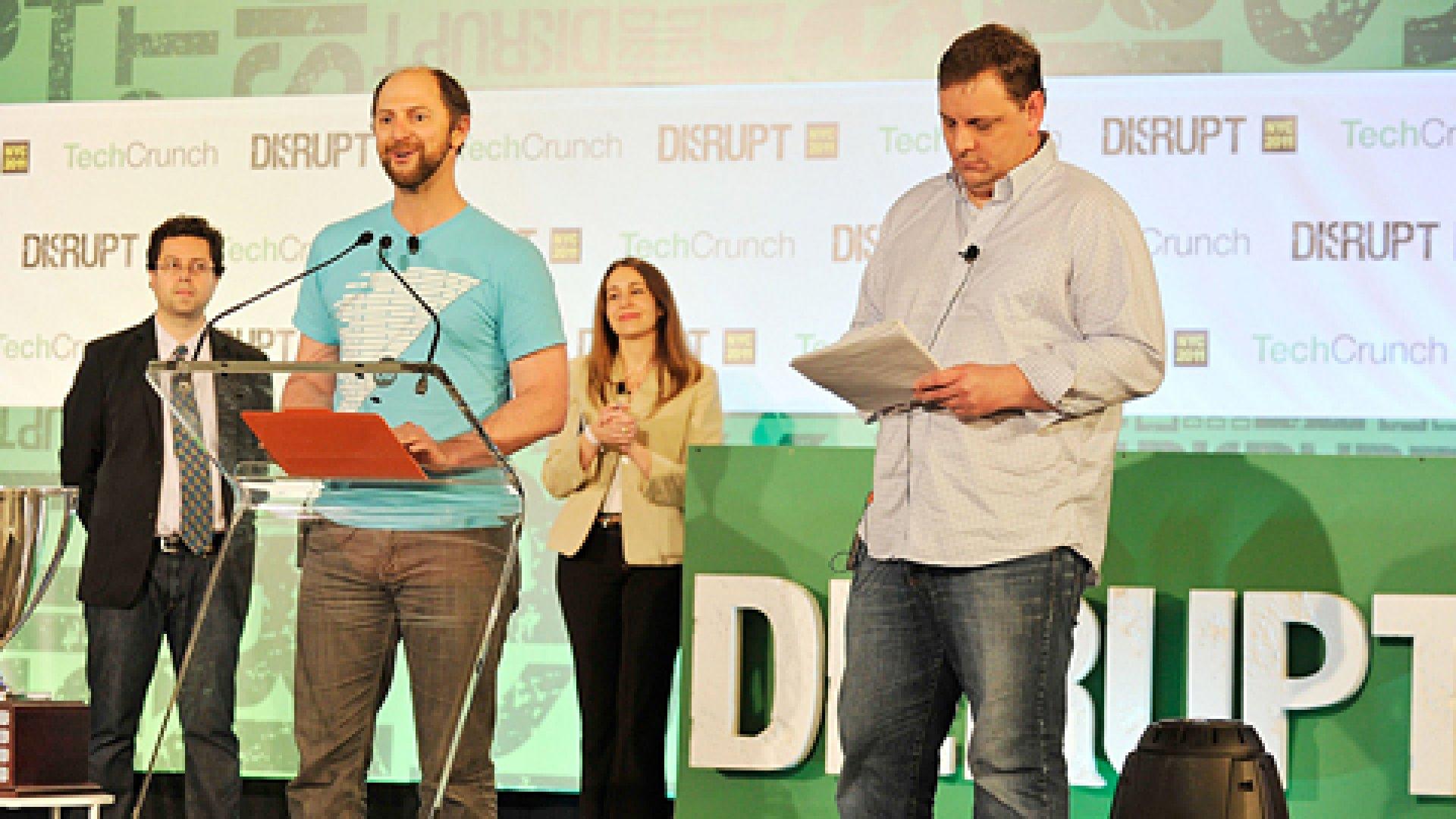 (L-R) Erick Schonfeld, Barney Pell, Heather Harde, and J. Michael Arrington speak at TechCrunch Disrupt New York May 2011 at Pier 94