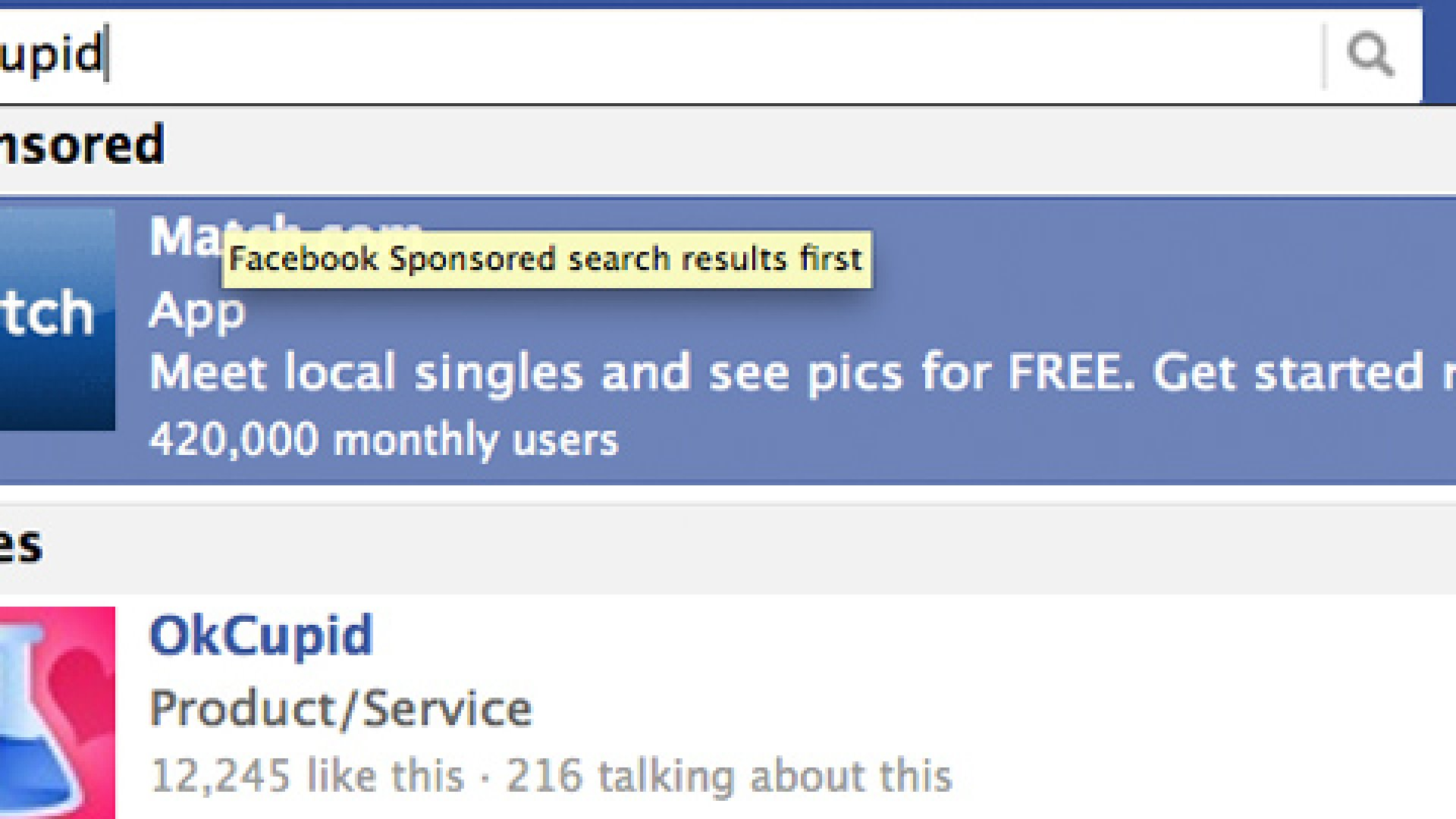 """Facebook's new """"sponsored results"""" search displays advertiser placements before organic results."""
