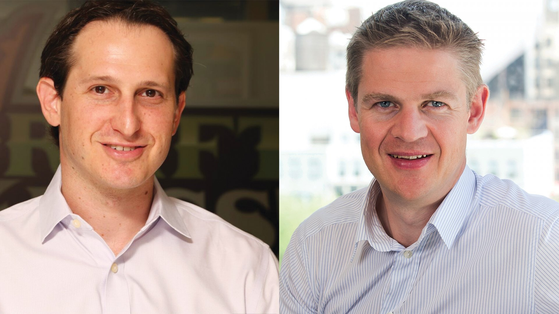 From left, DraftKings CEO Jason Robins and FanDuel CEO Nigel Eccles
