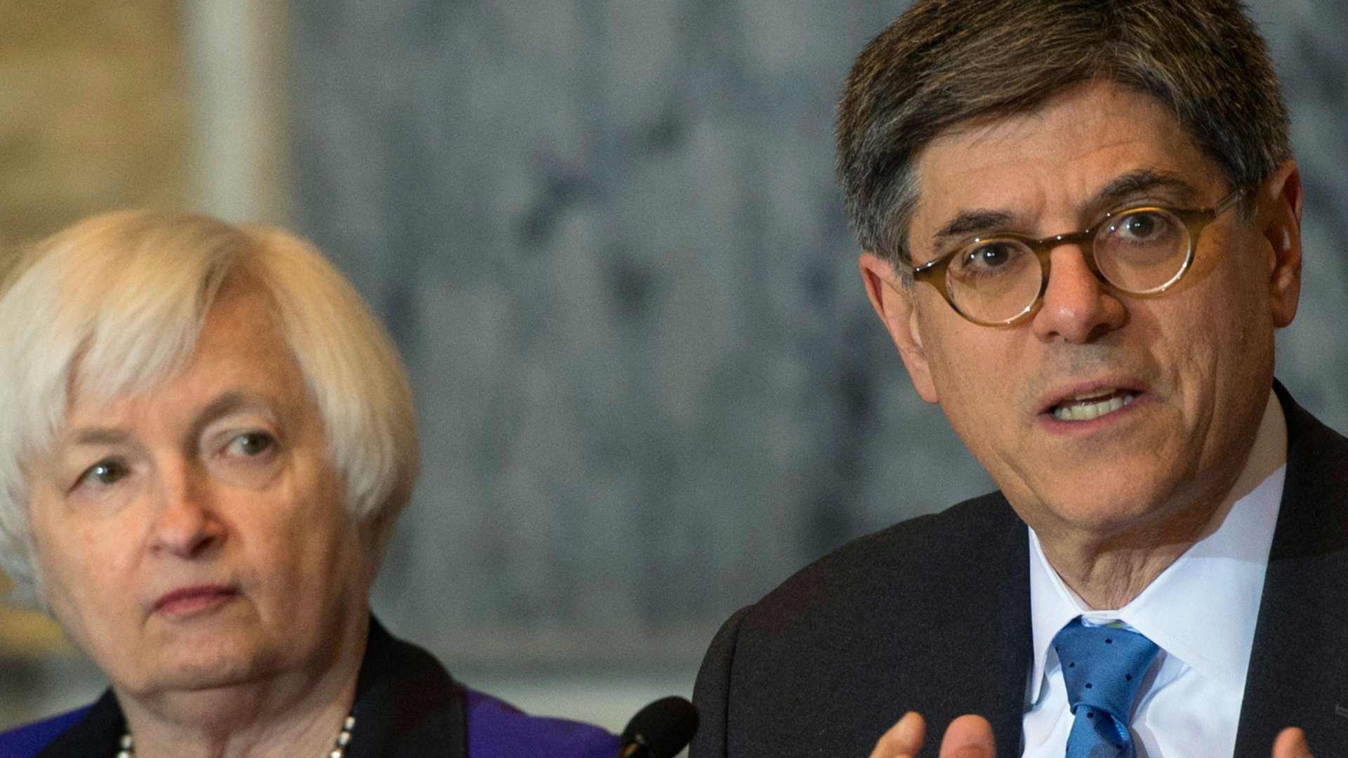 Secretary of the Treasury and Council Chairperson Jack Lew speaks during the Financial Stability Oversight Council along with Federal Reserve Chair Janet Yellen, at the Treasury Department in Washington, Wednesday, Nov. 16, 2016.