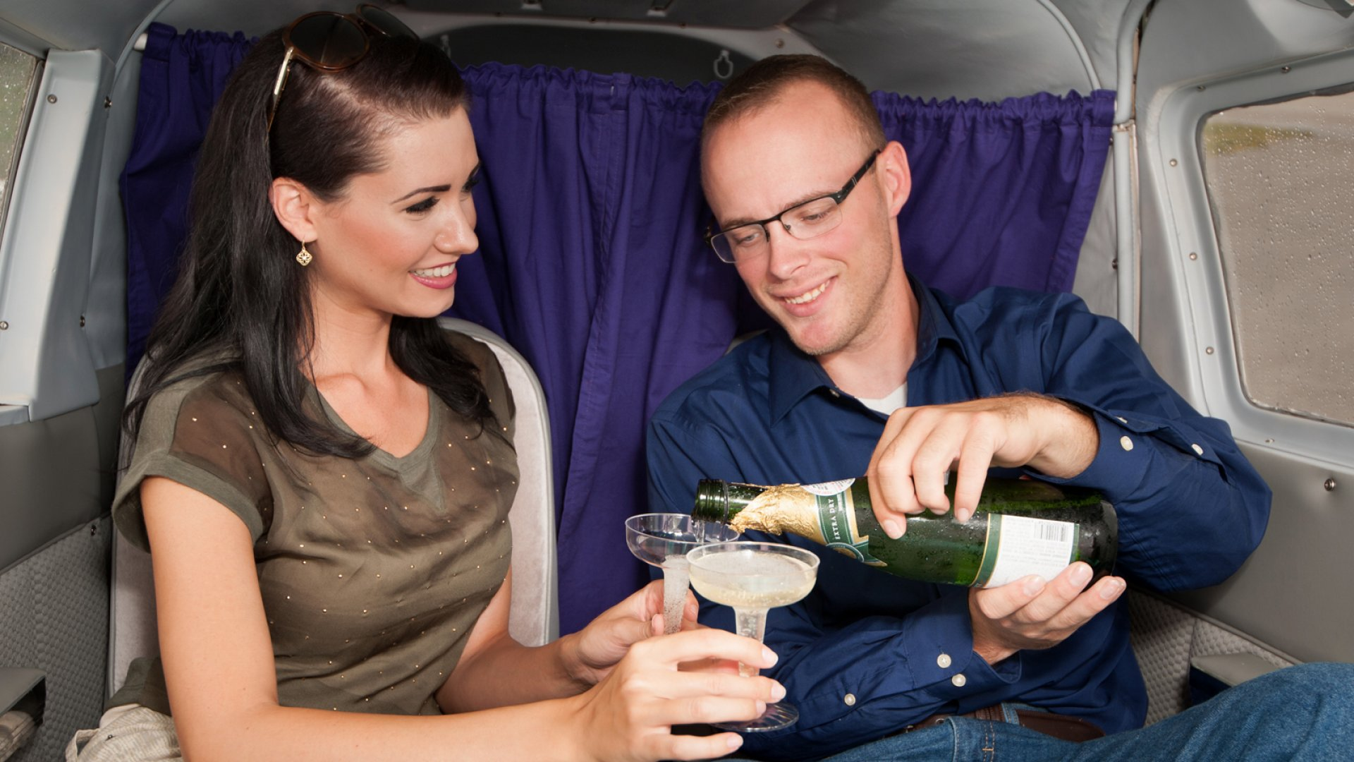 Couples receive champagne and chocolates to set the mood for Flights of Fancy
