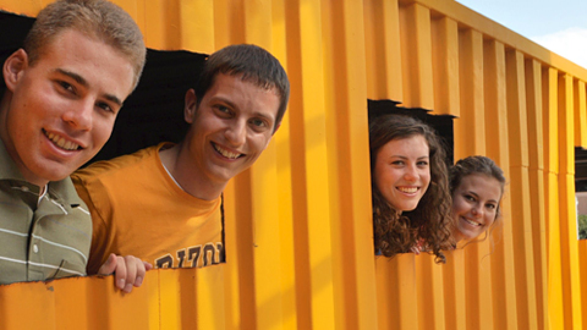 <strong>RECYCLING FOR HOPE:</strong> Billy Walters (far left), Clay Tyler, Susanna Young and Gabrielle Palermo are working on converting shipping containers into medical clinics for expecting mothers in Africa.