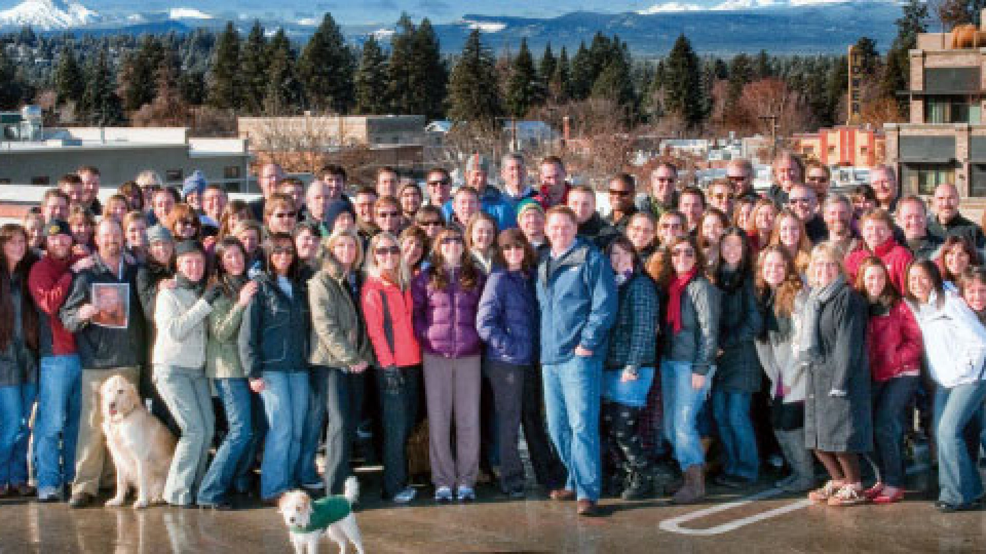 Employees gather on G5's roof in Bend, Ore.