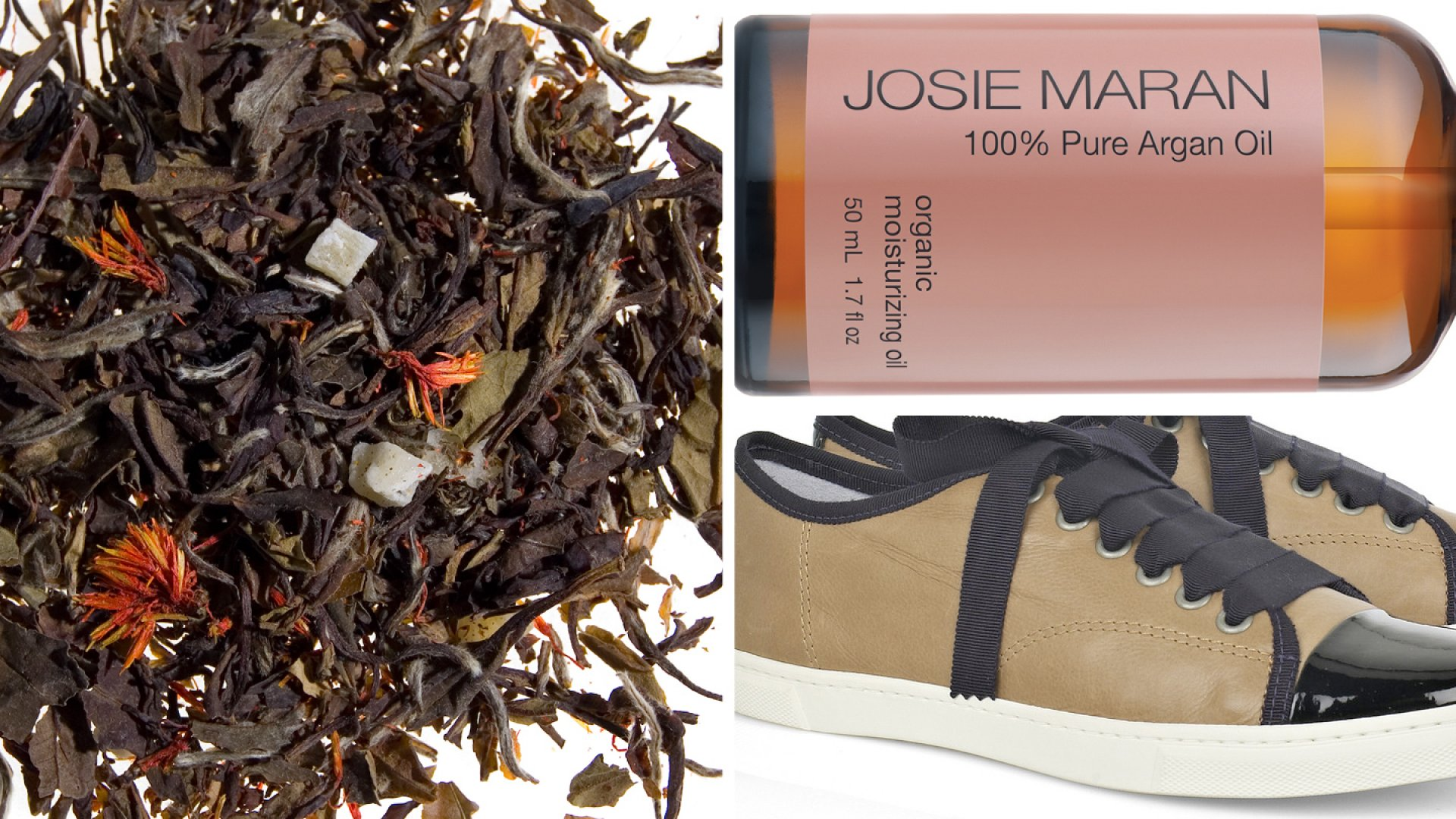 Clockwise from left: White Lion Tea, Josie Maran Argan Oil, Lanvin Cap-toe Sneakers