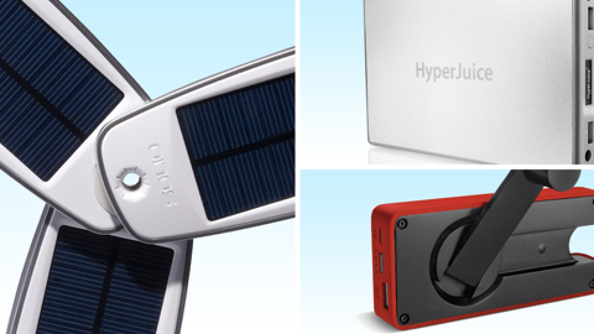 Clockwise left to right: Solio Classic2 Battery Pack + Solar Charger, HyperJuice 2 External Battery, Eton BoostTurbine2000