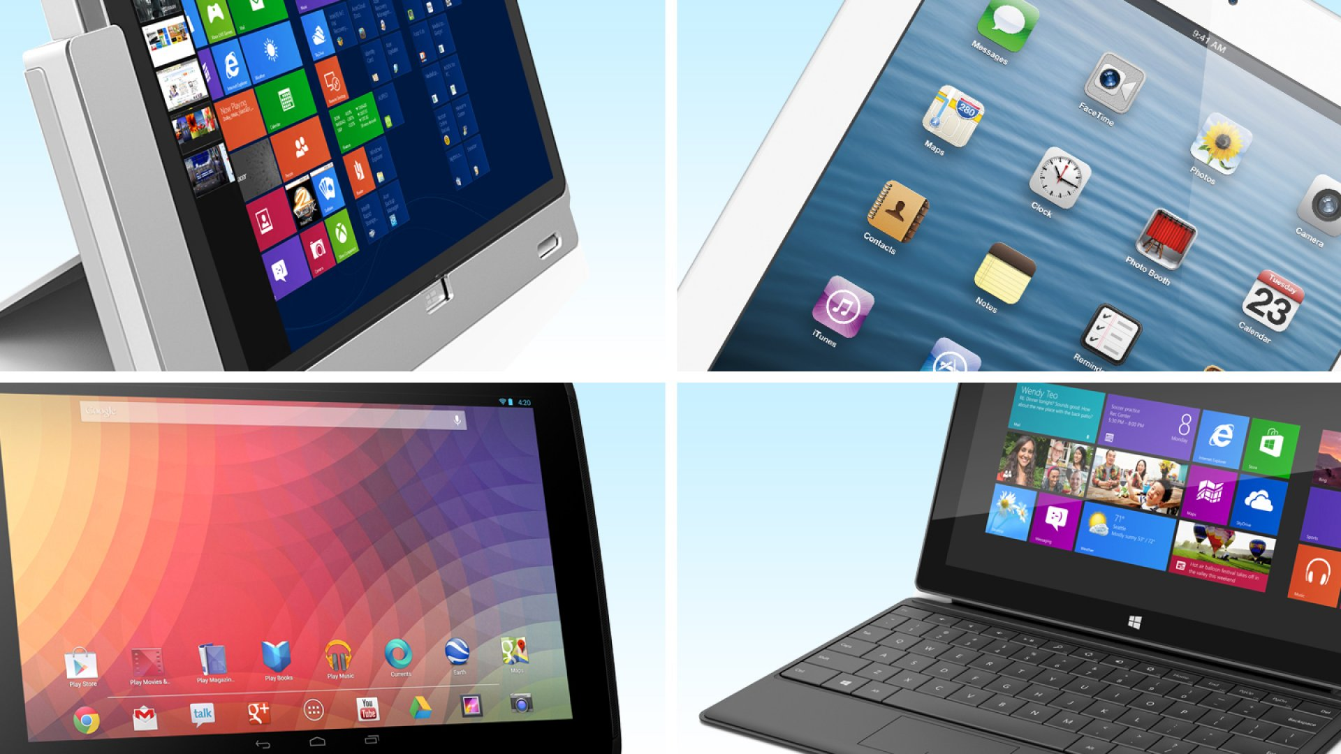 Acer Iconia W700 (top left), iPad Fourth Generation (top right), Google Nexus 10 (bottom left), Surface with Windows RT (bottom right)