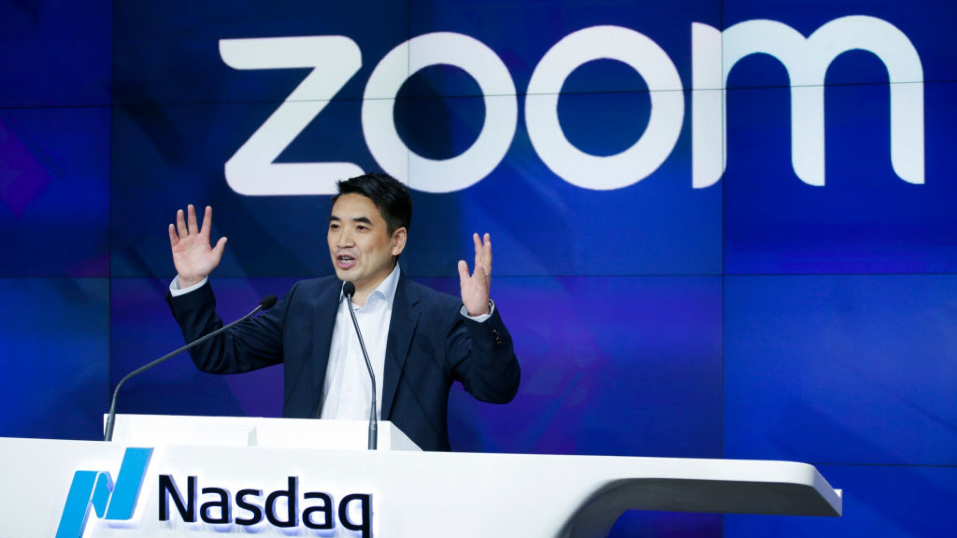 Zoom founder Eric Yuan speaks before the Nasdaq opening bell ceremony.