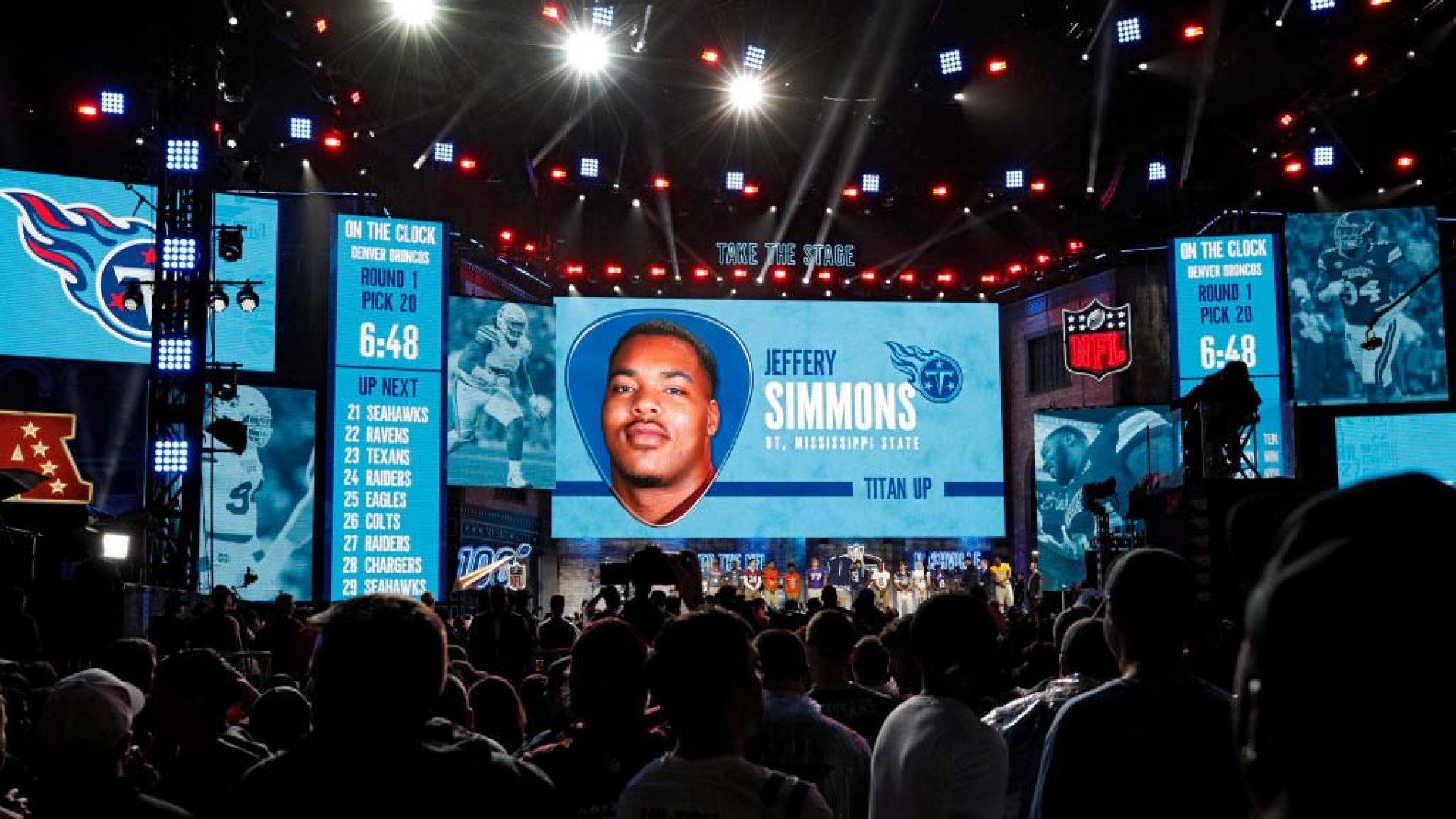 Jeffery Simmons of Mississippi State is announced as the first-round pick of the Tennessee Titans during the NFL Draft on April 25, 2019, in Nashville.
