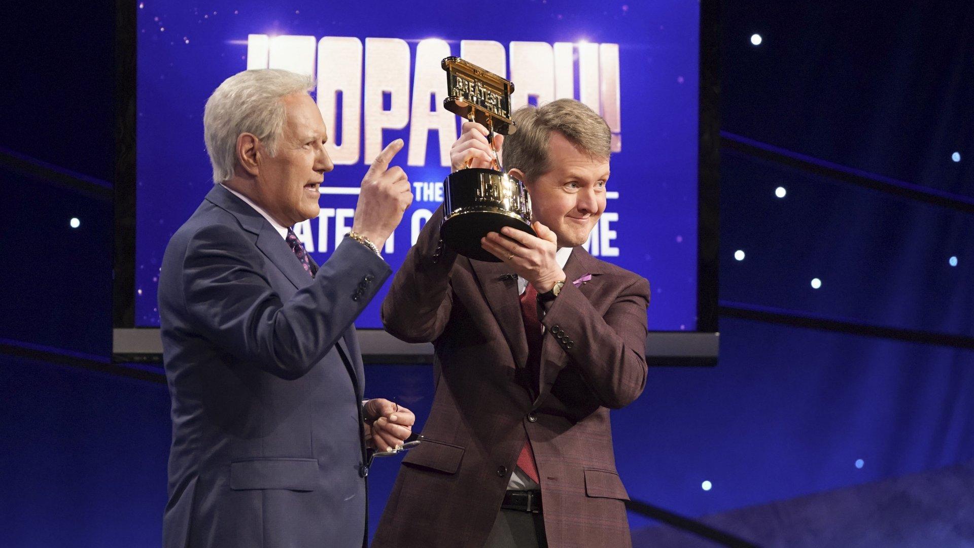 "Alex Trebek and Ken Jennings on the set of ""Jeopardy!"""