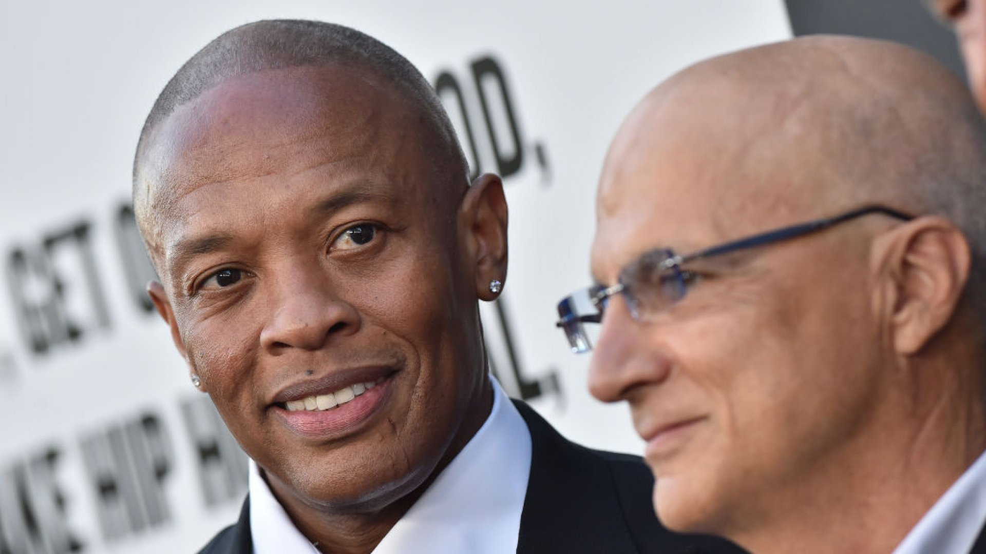 Rapper/producer Dr. Dre and producer Jimmy Iovine arrive at the premiere of 'The Defiant Ones.'