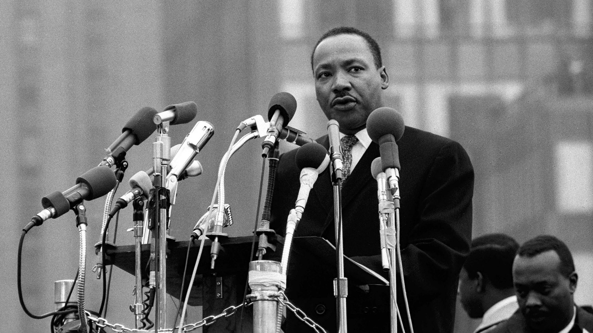 Martin Luther King Jr. speaks to peace marchers near the United Nations on April 15, 1967.