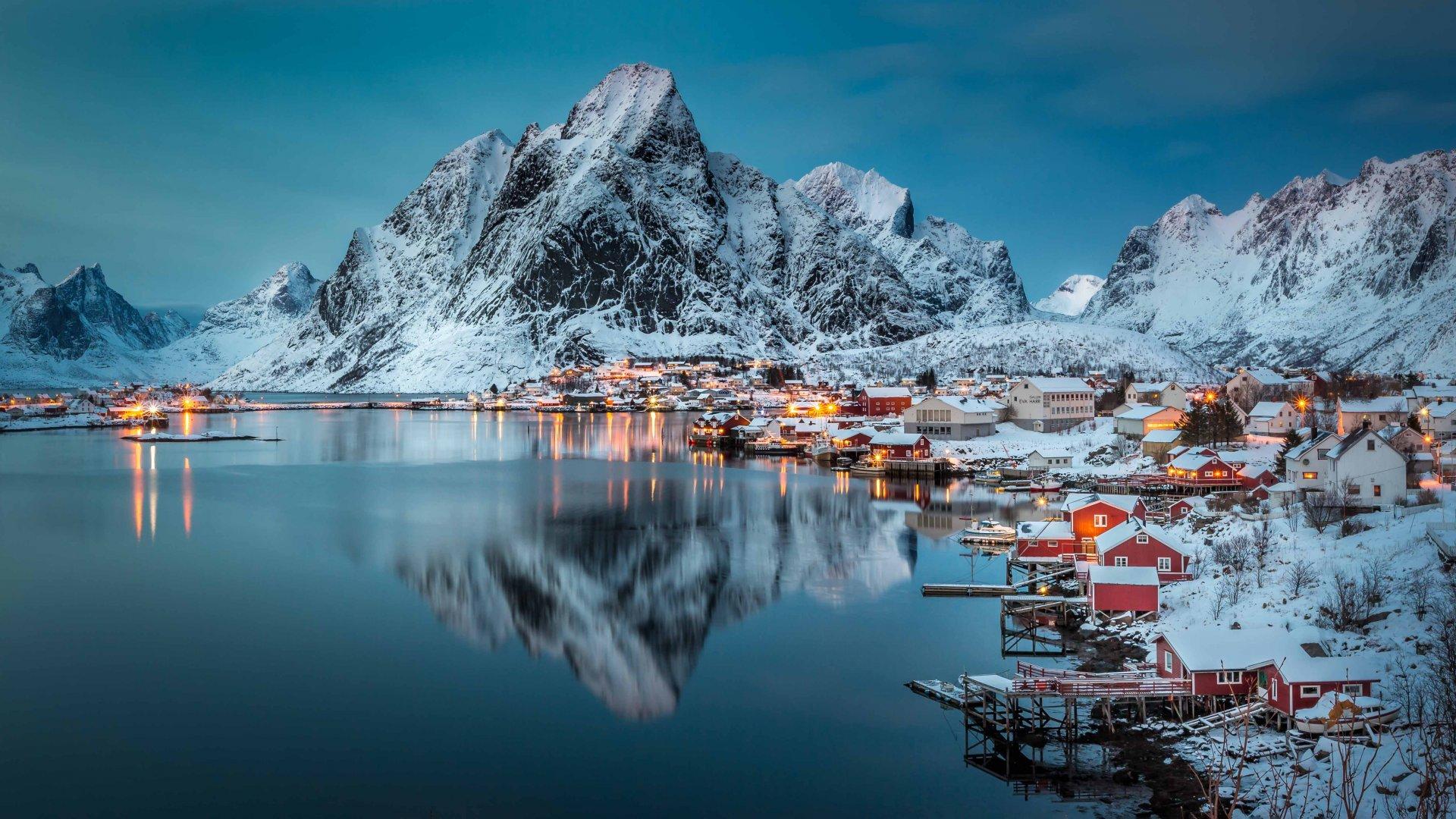 A village at night in Reine, Norway.