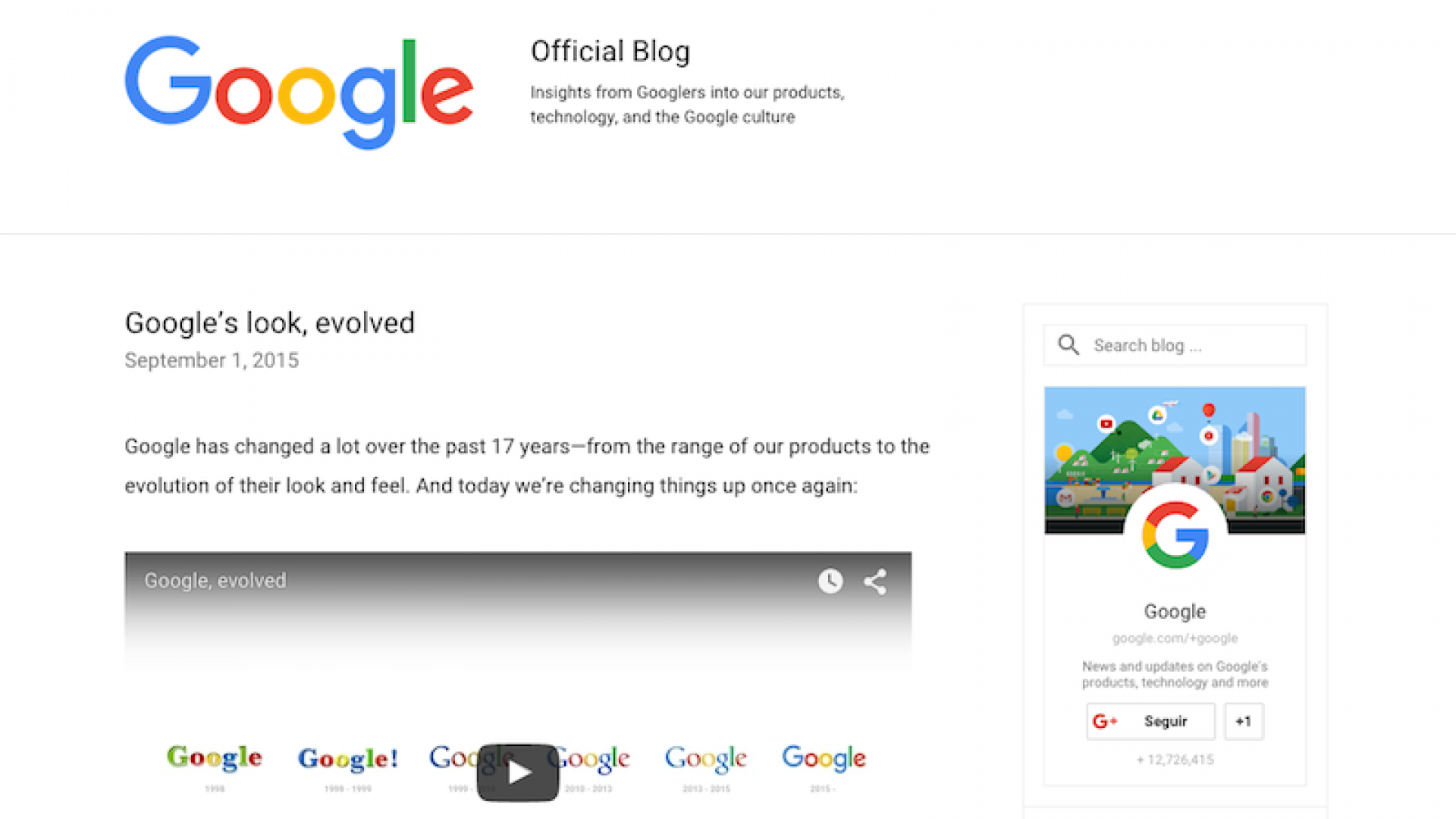 A screenshot of the Google blog post announcing the new logo.