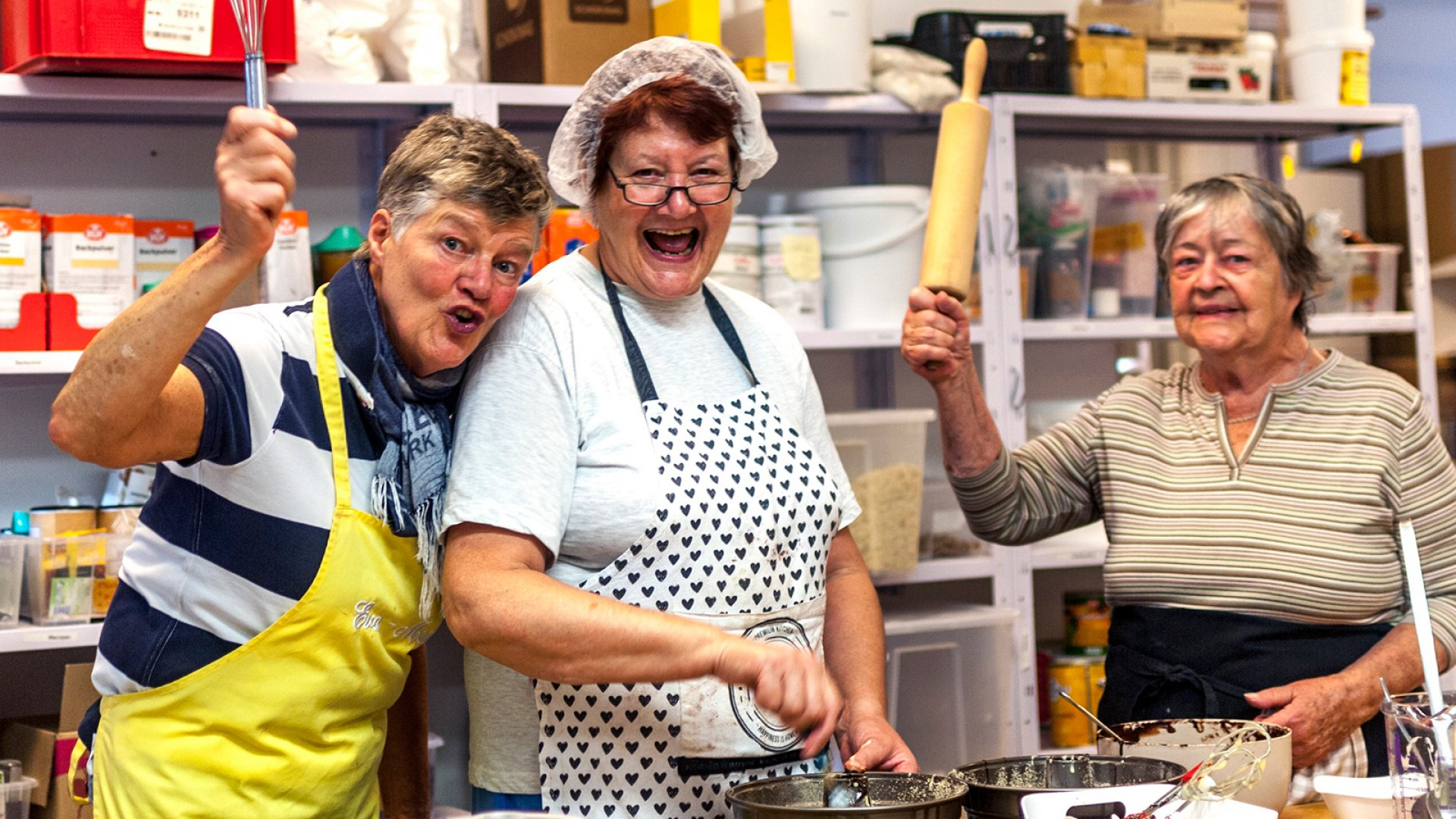 The more than 35 retired seniors who enjoy socializing and baking cakes together at Kuchentratsch's Munich, Germany, bakery include Eva-Maria, Moni and Irmgard.
