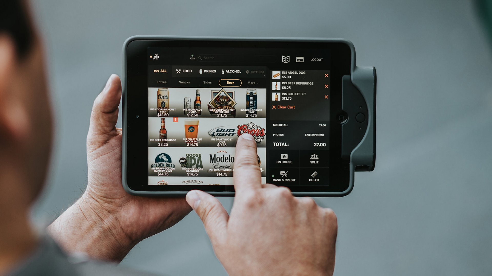 A tablet with Appetize's software, which has made its way into stadiums, arenas, concert halls, and theme parks.