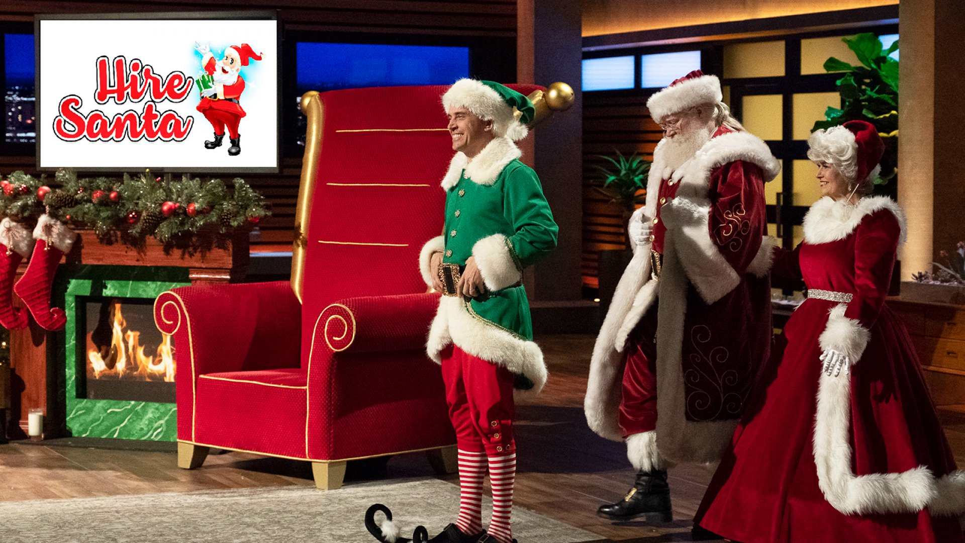Head Elf Mitch Allen, accompanied by Santa and Mrs. Claus, pitched his company, HireSanta, on Shark Tank.