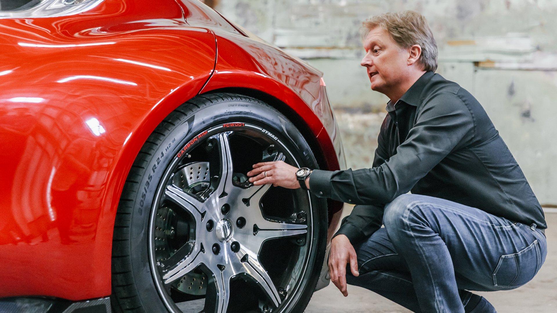 Fisker Inc. founder Henrik Fisker and his new EMotion electric vehicle.