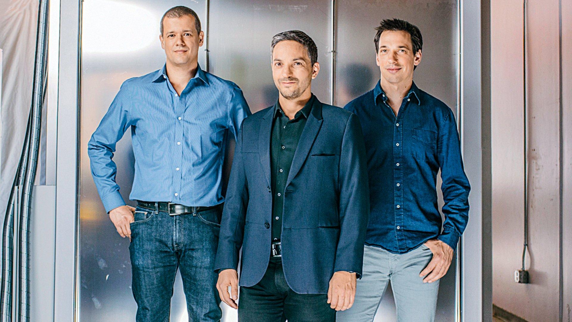 Sila Nanotechnologies founders (from left) Gene Berdichevsky, Gleb Yushin, and Alex Jacobs at the company's Alameda, California, headquarters.