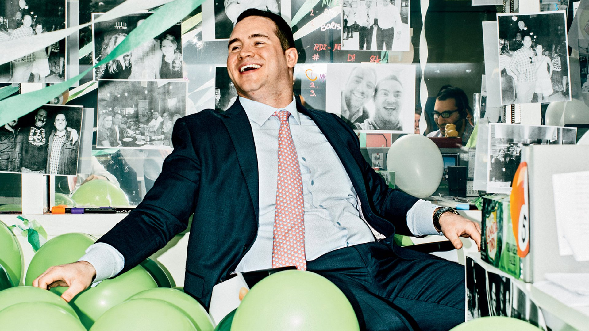LaSalle Network's technology services team leader, Paul Wallenberg, is up to his hips in balloons to mark the fifth anniversary of his hiring.