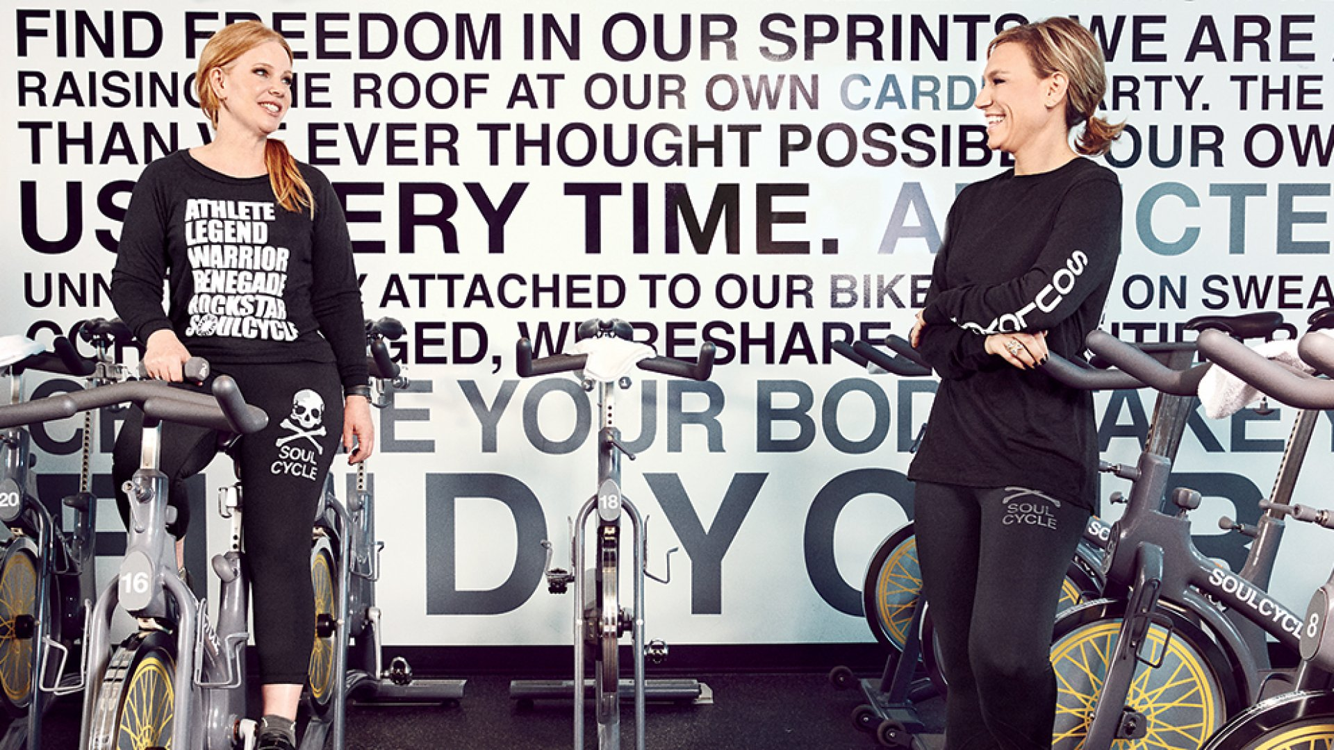 Elizabeth Cutler (left) and Julie Rice practice what they preach at a SoulCycle class in Manhattan.
