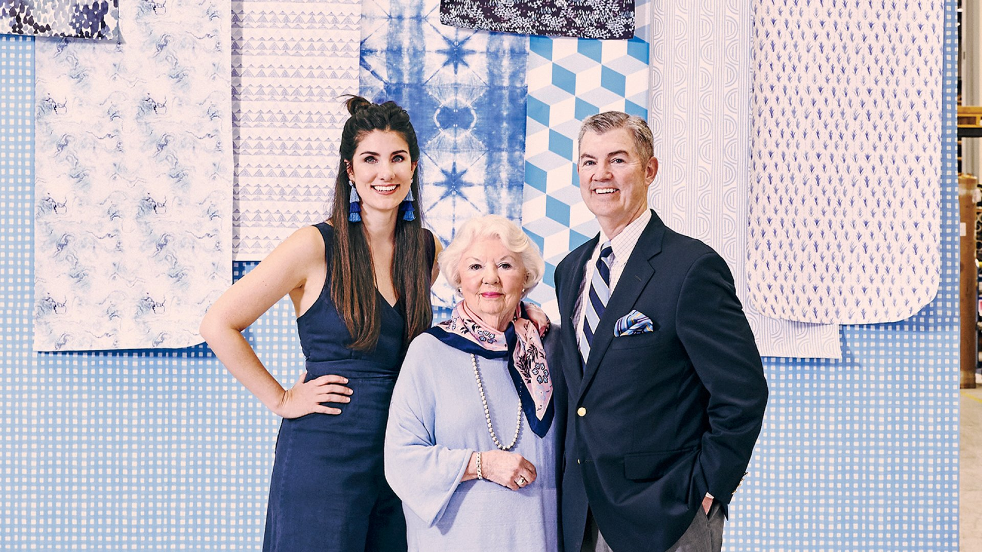 (From left) Elizabeth Rees, Margaret Rees, and Mike Rees. Milwaukee-based Kubin-Nicholson now manufactures 120 modular wallpaper designs.