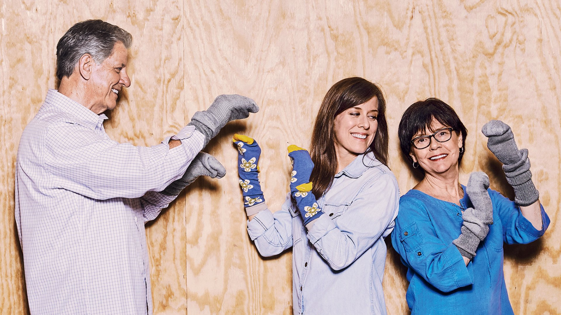 Terry Locklear (left), Gina Locklear, and Regina Locklear of Emi-G. Emi-G Knitting's Fort Payne, Alabama factory–which now produces basic Emi-G socks, along with Zkanos (pictured on Gina) and Little River Sock Mill socks–has been resuscitated.
