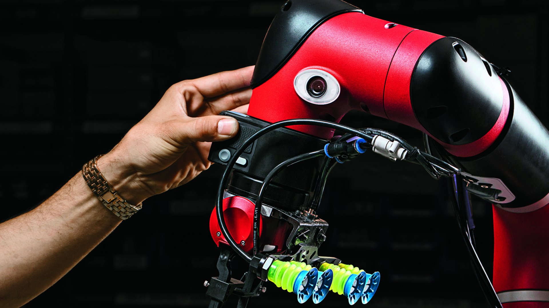 Acorn's cobot, named Sawyer, cuts blocks of wood–to which rubber stamps are affixed–and drills a hole into them for the handle, freeing up human employees for more creative tasks.