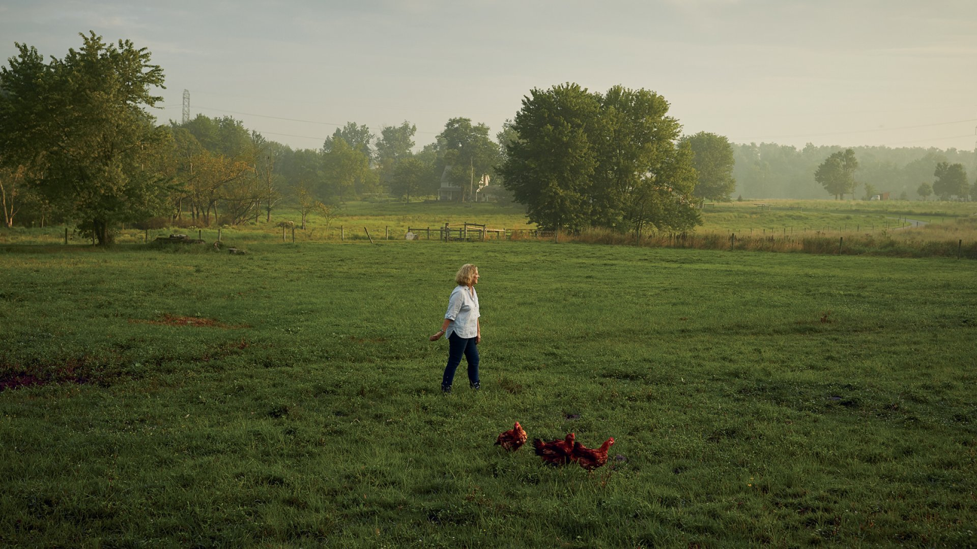 Ariane Daguin, co-founder of D'Artagnan, at an Amish farm in Myerstown, Pennsylvania, that raises poultry according to her company's exacting standards.