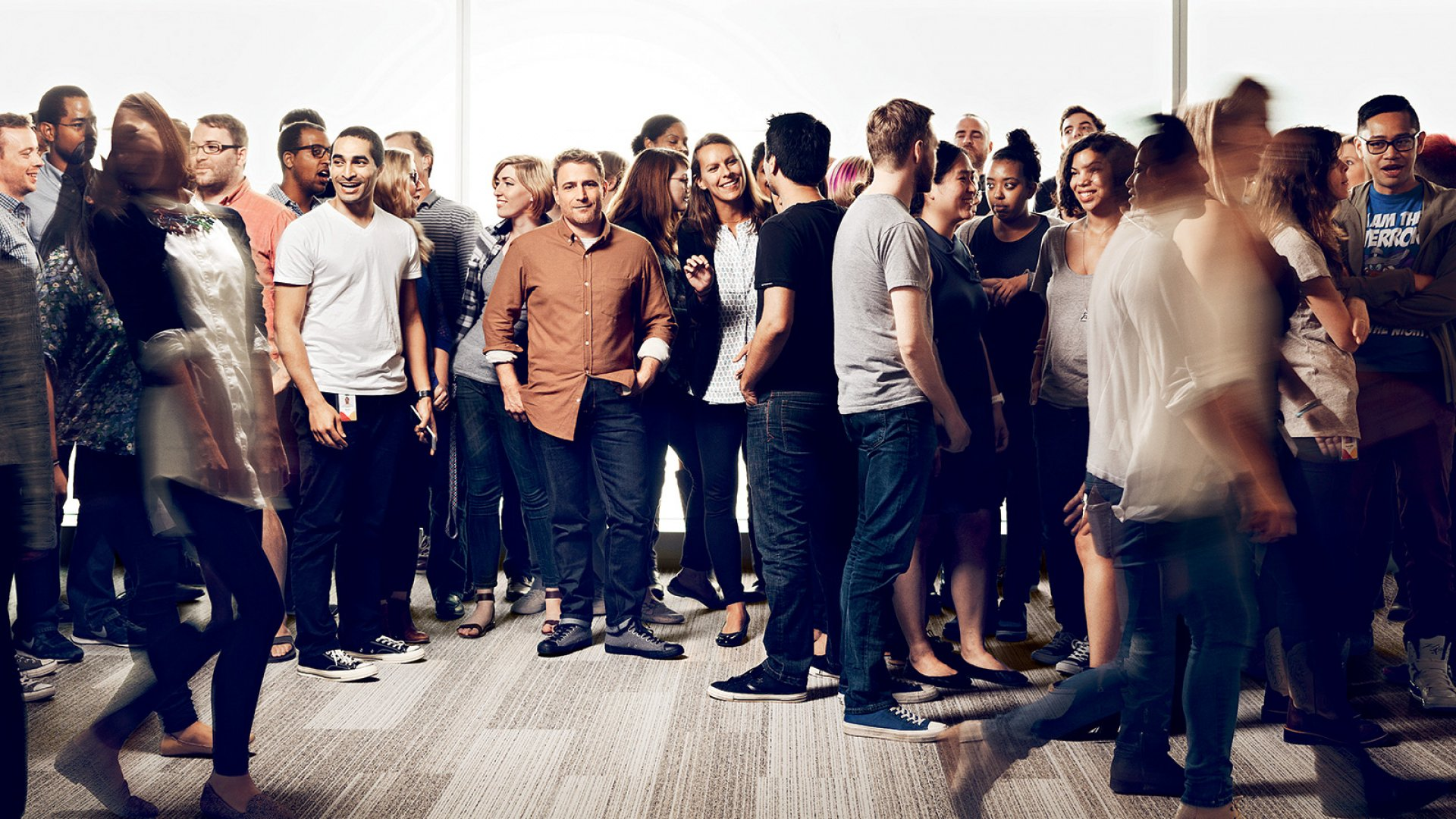 Though he's making online communication faster, Stewart Butterfield, co-founder and CEO of Slack, still believes in face time with his team, shown here at the company's San Francisco headquarters.