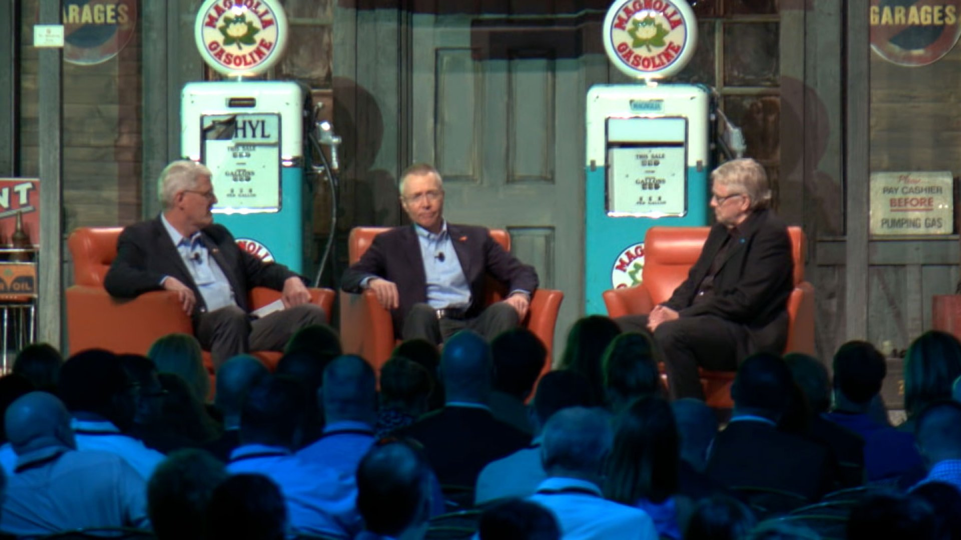 """Basil Peters, author """"Early Exits,"""" and Joel Wiggins, president of Crown College, speak with editor-at-large Bo Burlingham at the Inc 5000 conference about the nature of business exits."""