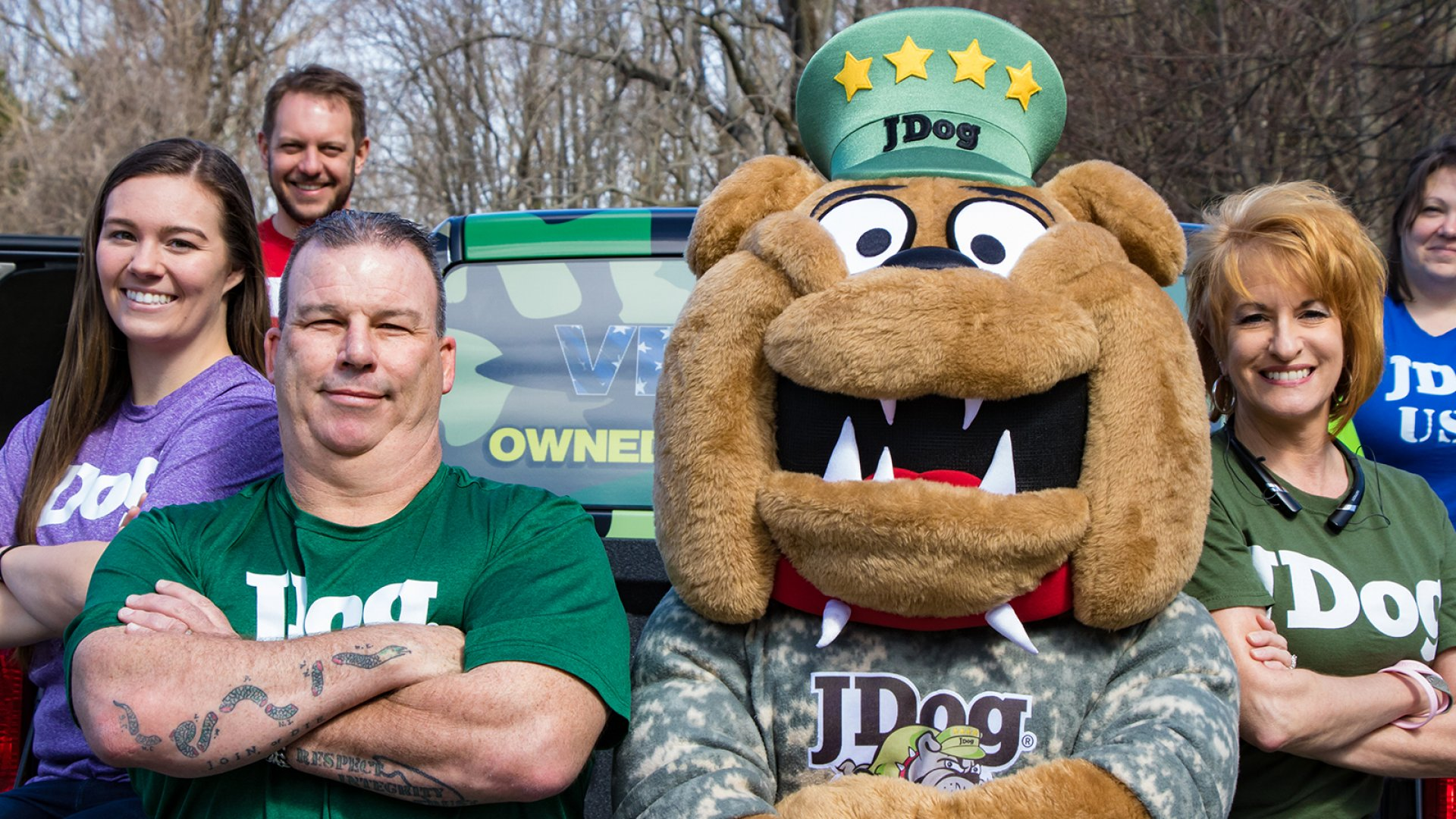JDog founder and CEO Jerry Flanagan (front left) and team.