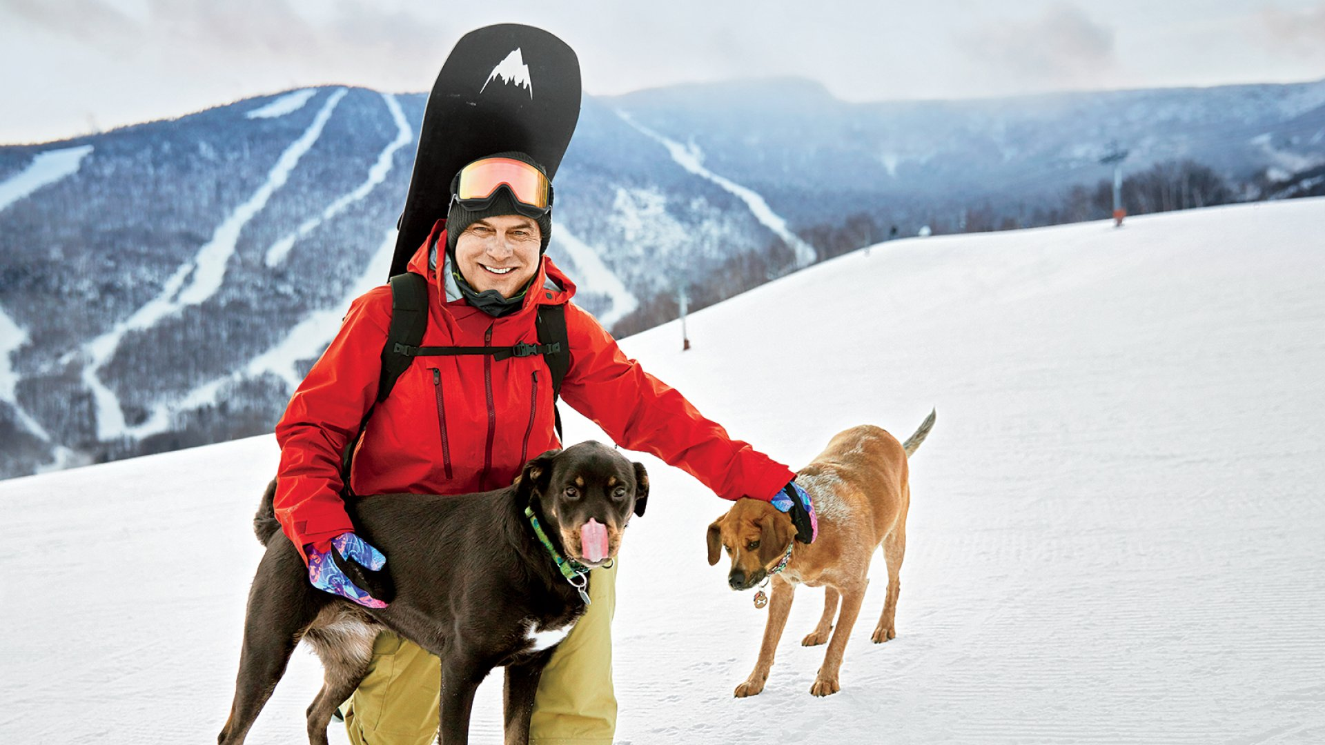 Jake Burton, with two close associates, near his home in Vermont.