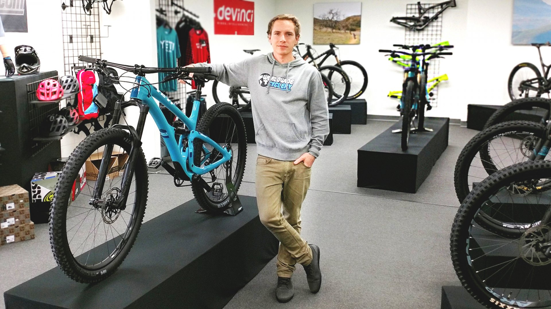 Jeff Cayley, the founder of Worldwide Cyclery, at his shop in Newbury Park, California.