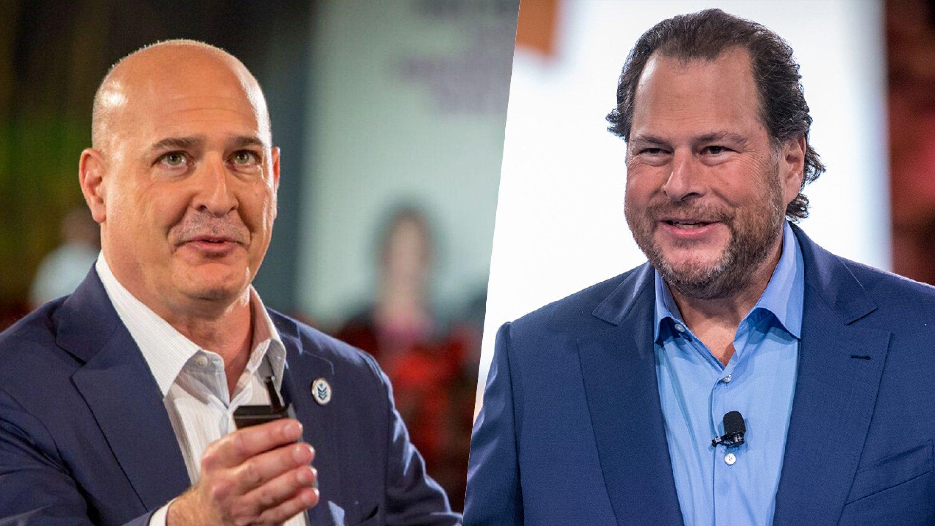 Salesforce co-CEOs Keith Block (left) and Marc Benioff.