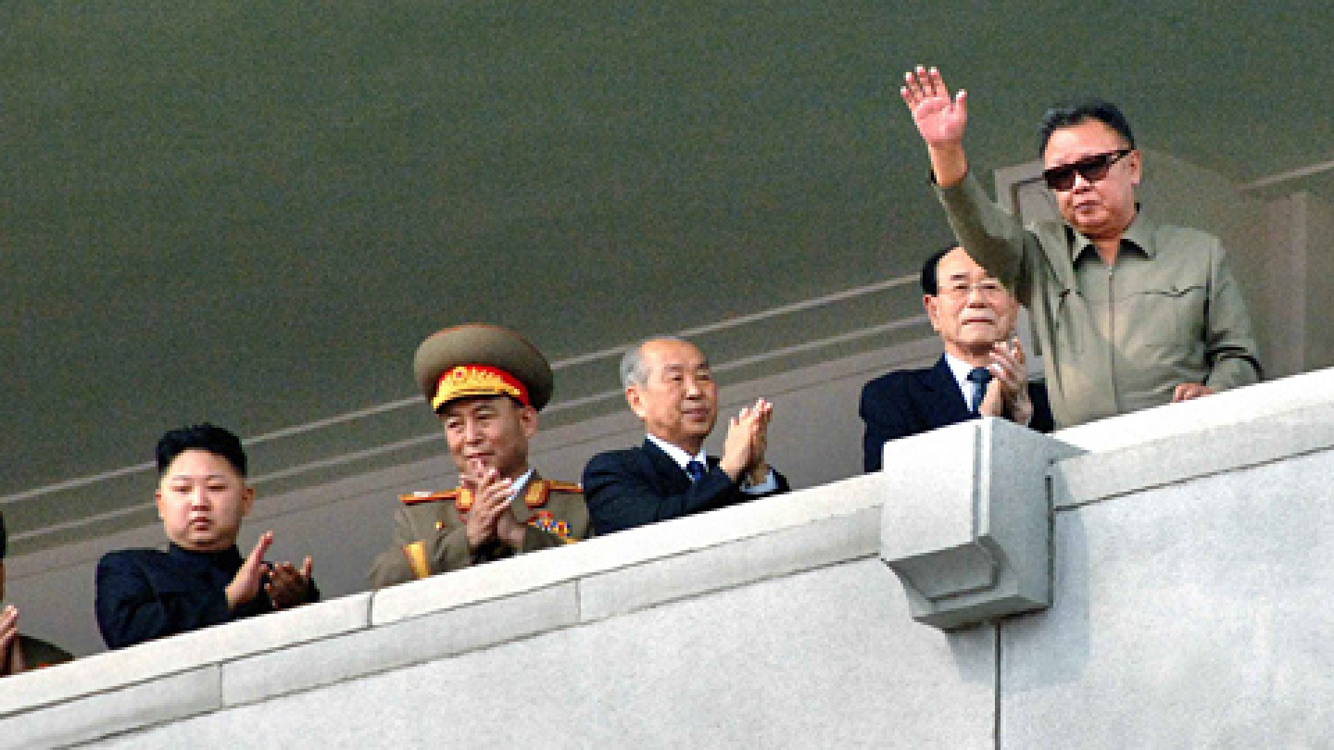 Photo provided by KCNA news agency shows the Democratic People's Republic of Korea (DPRK)'s top leader Kim Jong Il (1st R) arrive to watch a military parade in celebration of the 63rd anniversary of the DPRK, in Pyongyang.
