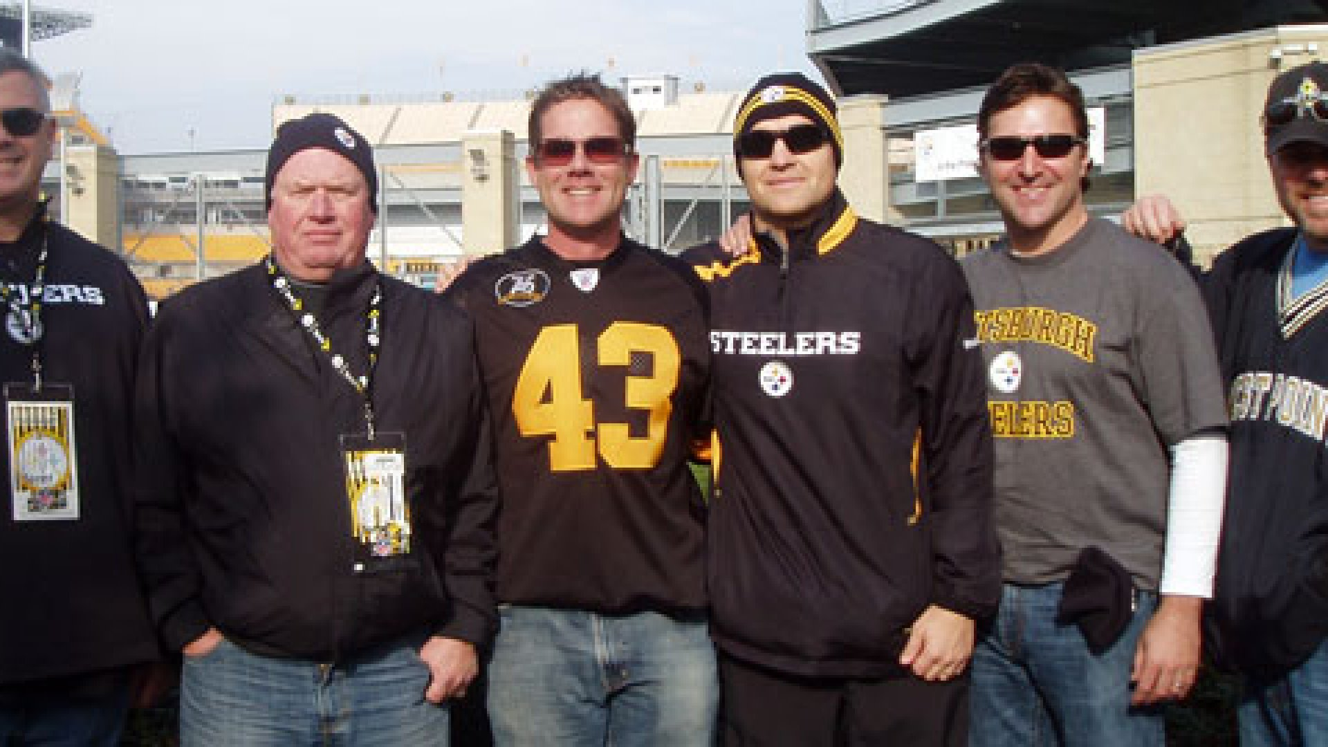 The Knight Point Systems leadership group at a Steelers game. Left to Right - Charles Randolph, Director of Operations, Bob Hogan, Business Development, Doug Duenkel, CEO, Justin Kuzemka, Director of Business Development, Keith McMeans,co-founder, and Robert Eisiminger, CEO, on the far right.